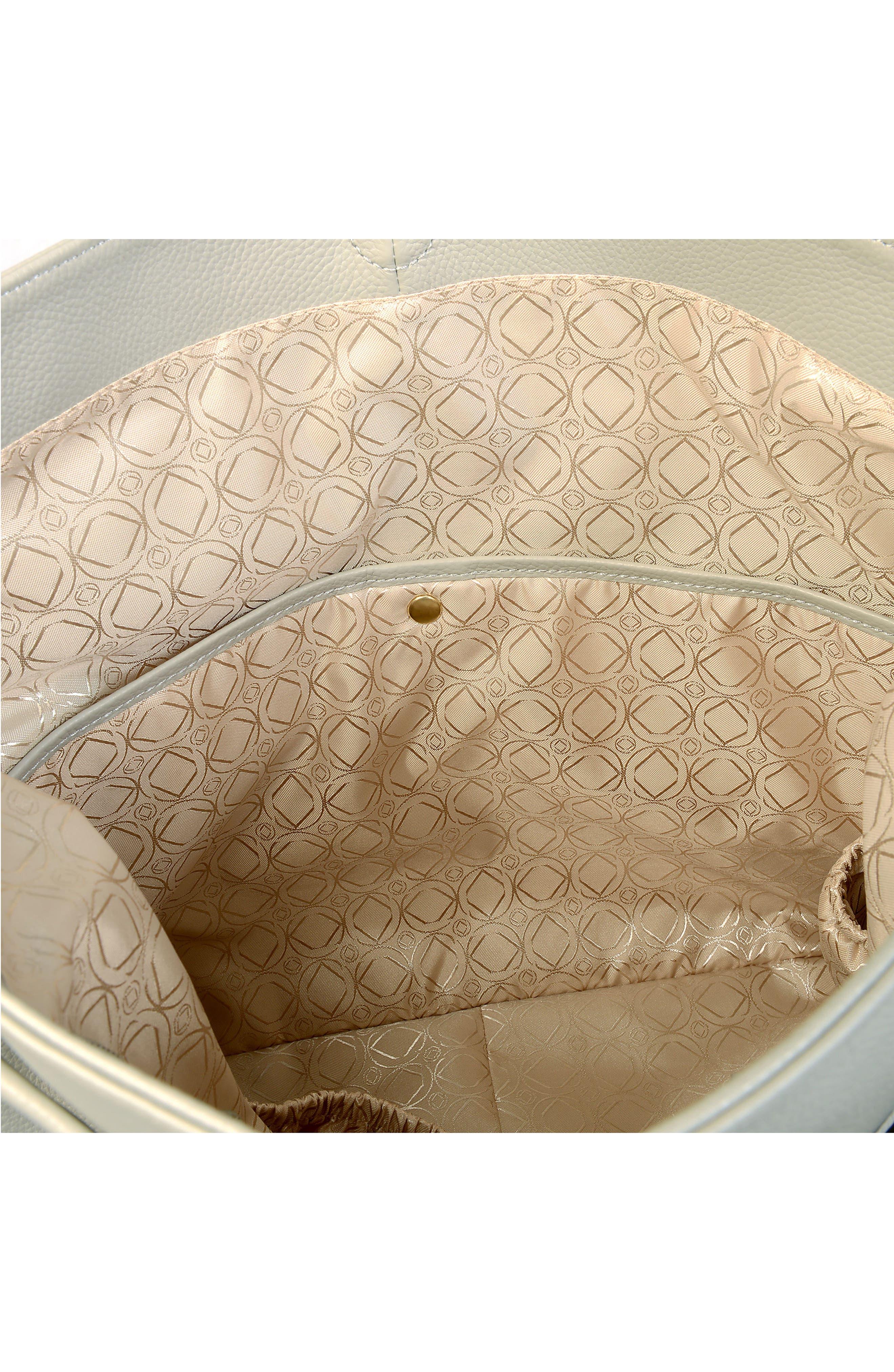 Lennox Leather Diaper Bag,                             Alternate thumbnail 5, color,                             ICE GREY