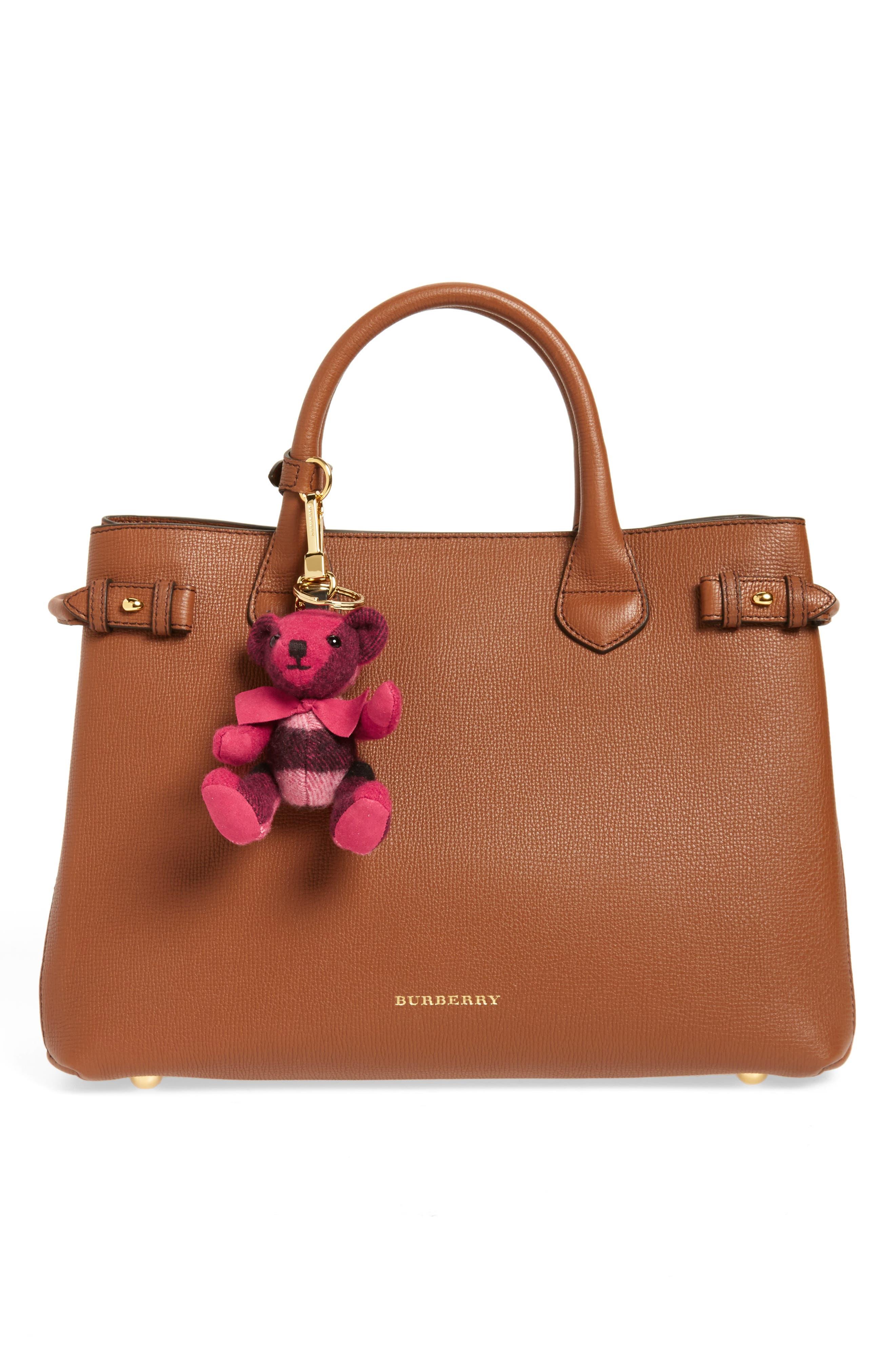Thomas Bear Check Cashmere Bag Charm,                             Alternate thumbnail 4, color,
