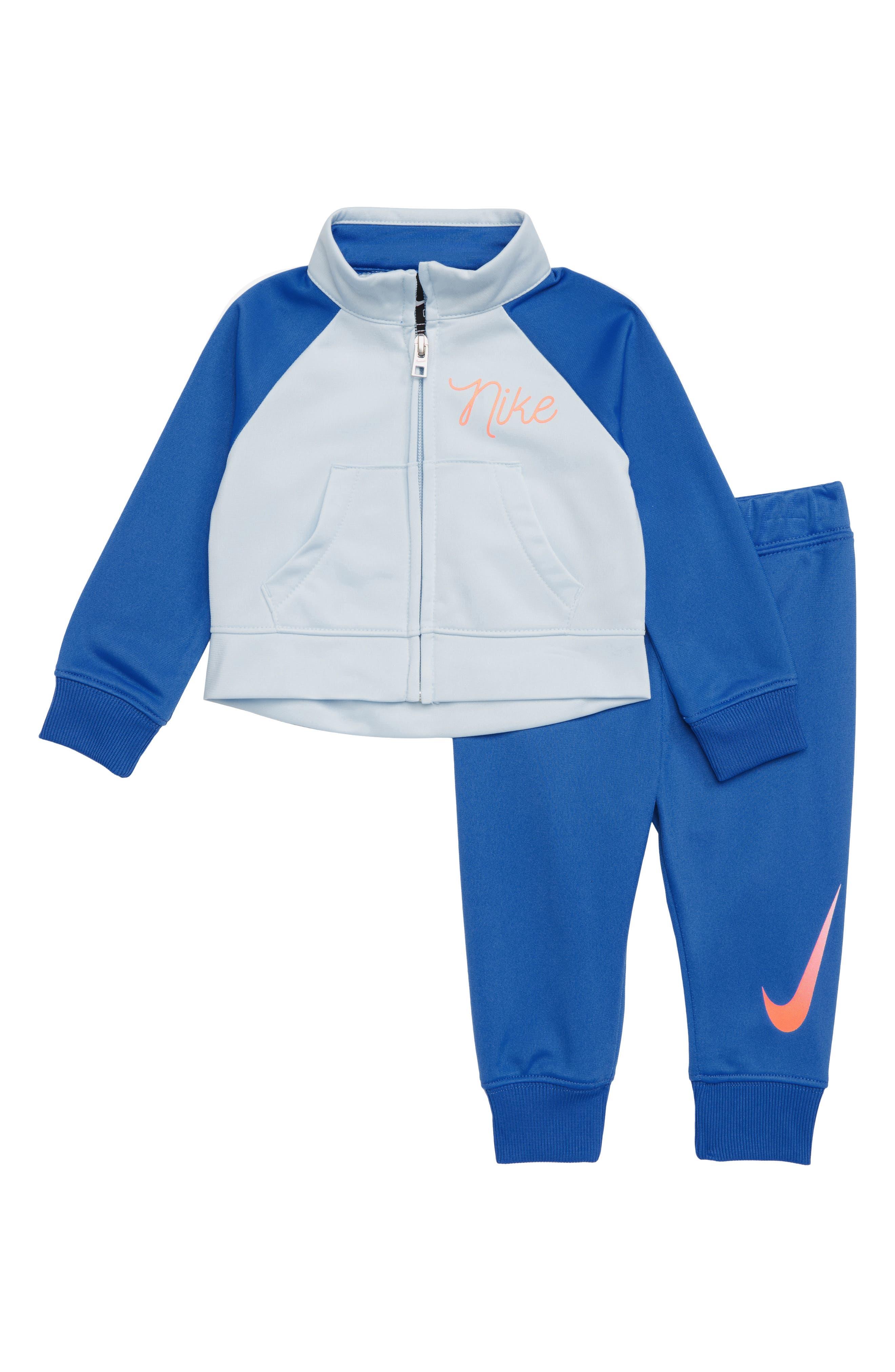 Swoosh Tricot Track Suit Set,                             Main thumbnail 1, color,                             SIGNAL BLUE