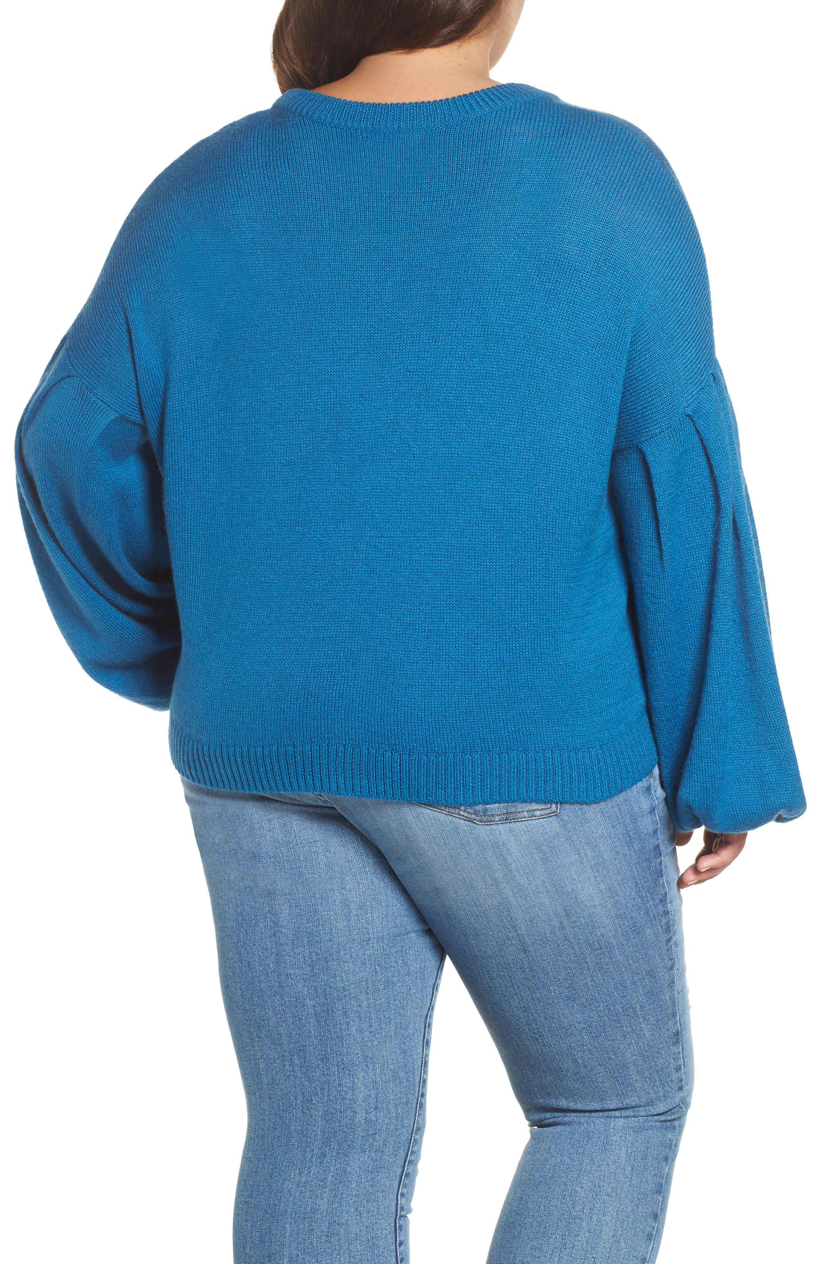 Blouson Sleeve Sweater,                             Alternate thumbnail 8, color,                             TEAL SAPPHIRE