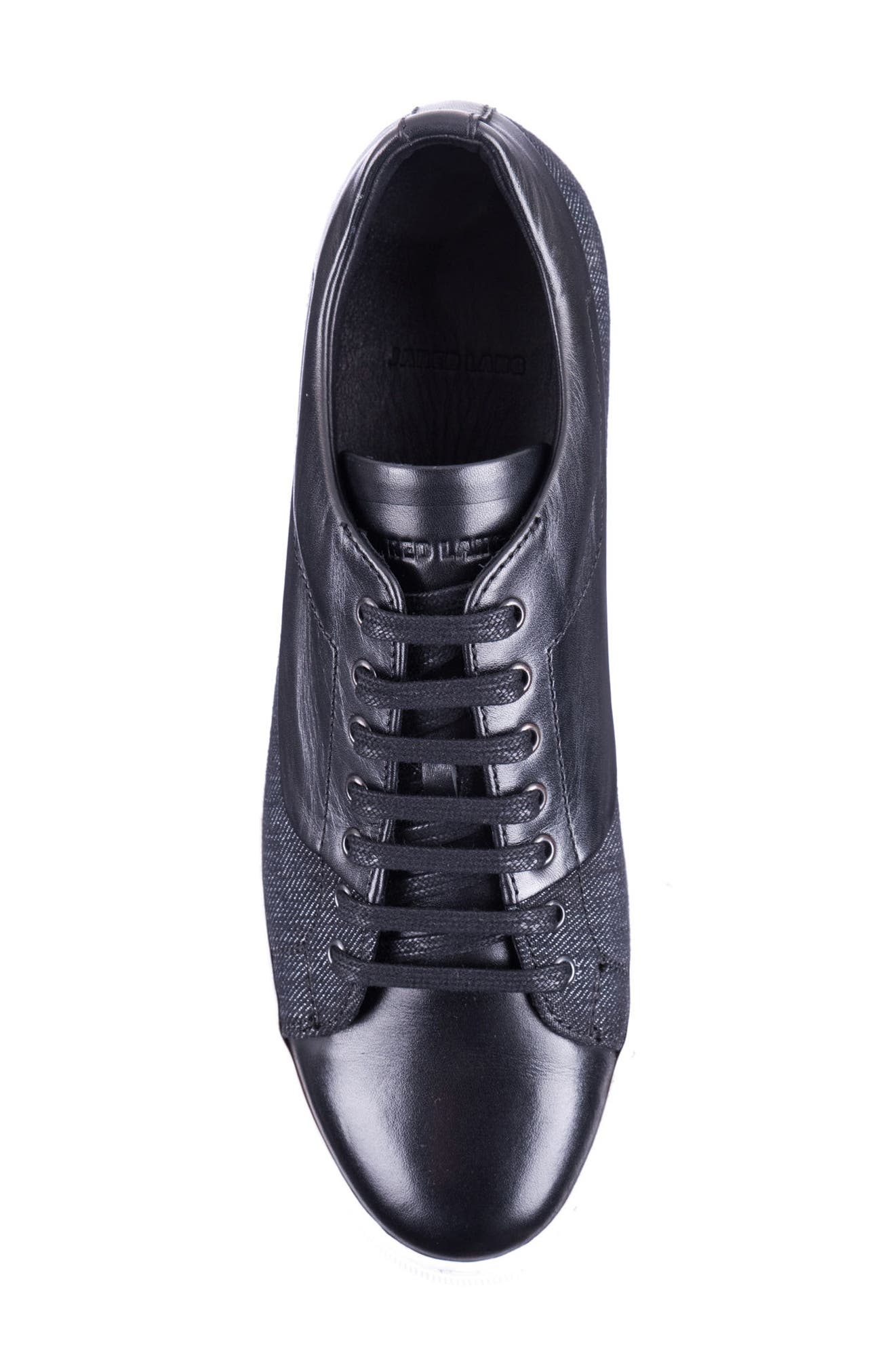 Luke Low Top Sneaker,                             Alternate thumbnail 5, color,                             BLACK LEATHER