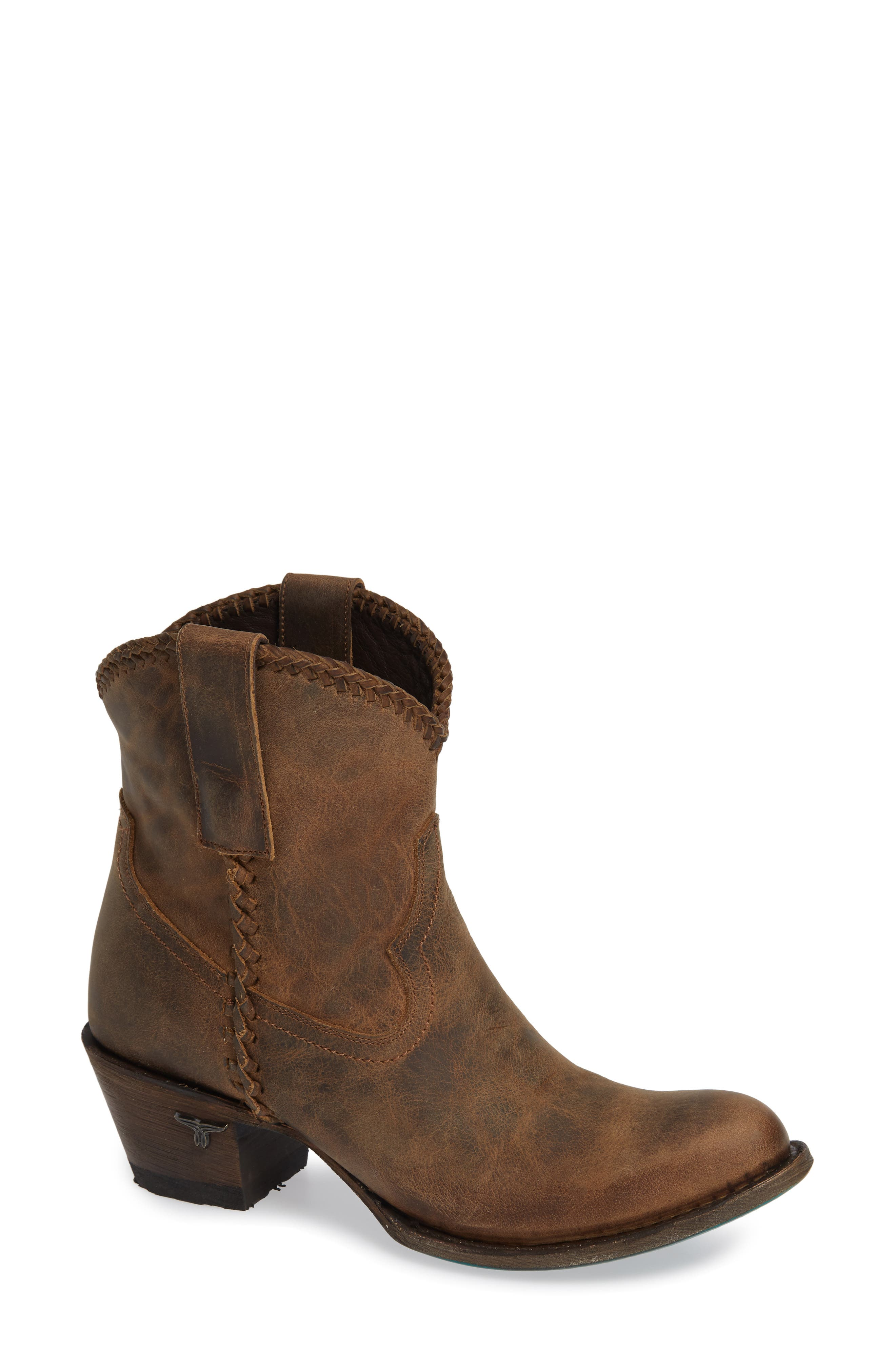Plain Jane Western Boot,                             Main thumbnail 1, color,                             BROWN LEATHER