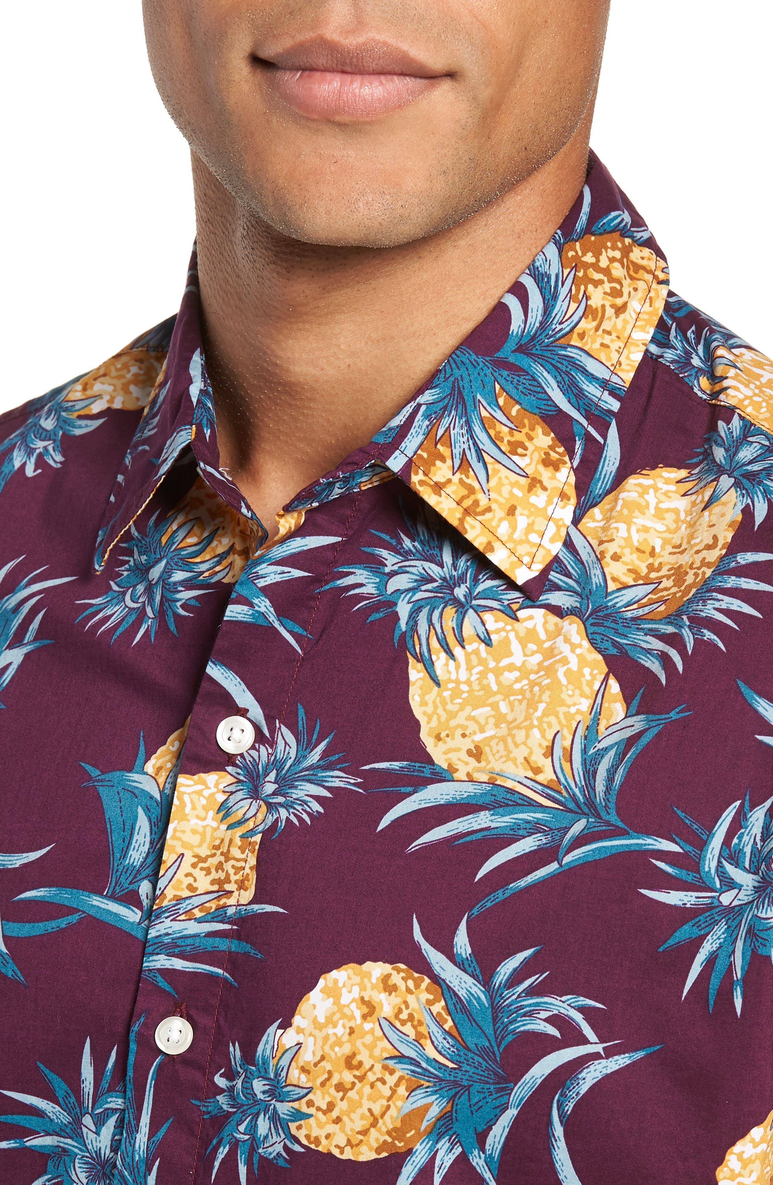 Riviera Slim Fit Pineapple Print Sport Shirt,                             Alternate thumbnail 2, color,                             500