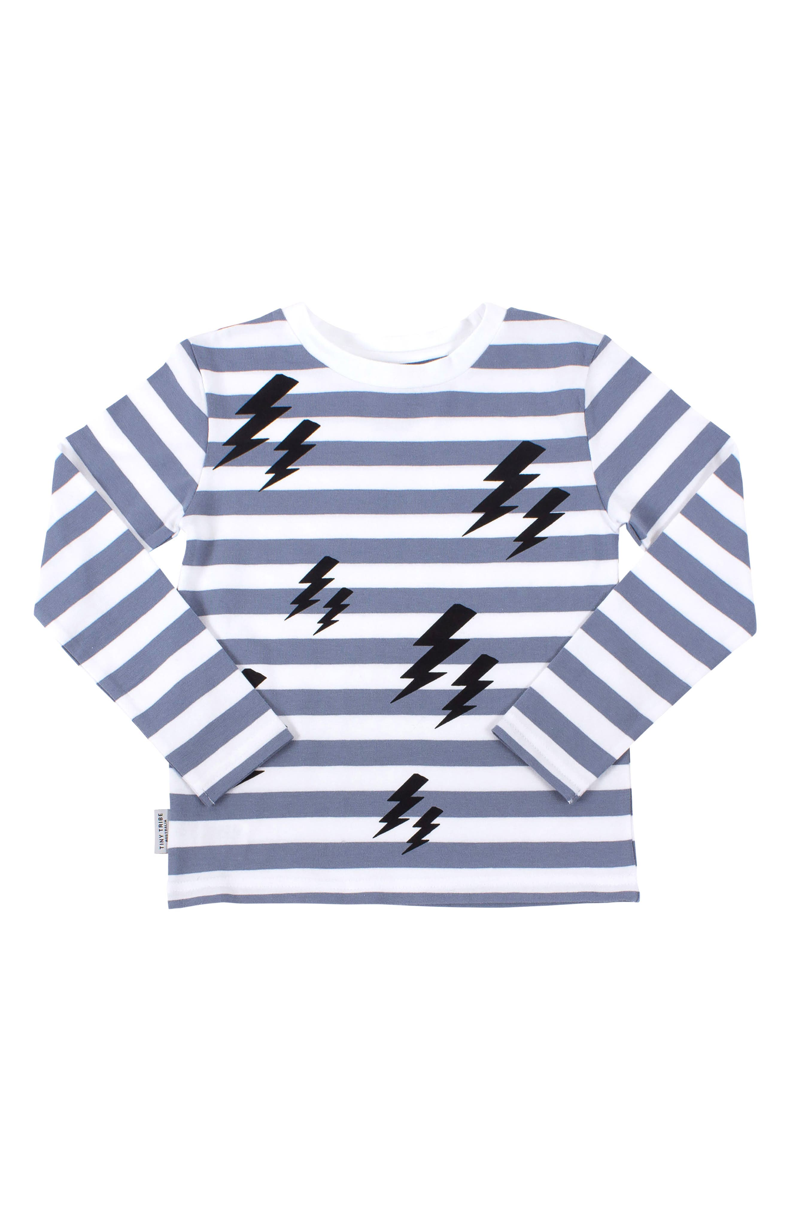 Lightning Stripe T-Shirt,                             Main thumbnail 1, color,                             BLUE/ BLACK