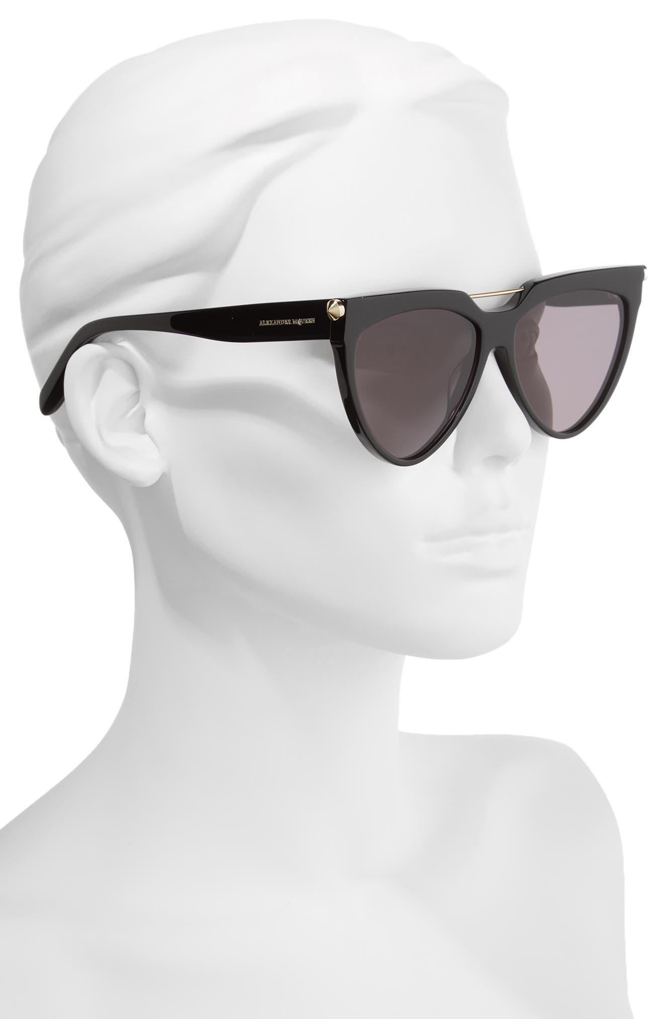 58mm Cat Eye Sunglasses,                             Alternate thumbnail 2, color,                             001