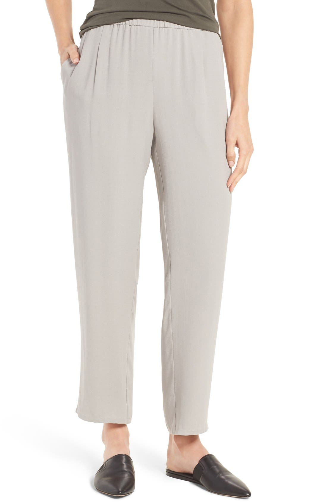 Silk Georgette Crepe Straight Ankle Pants,                             Main thumbnail 2, color,