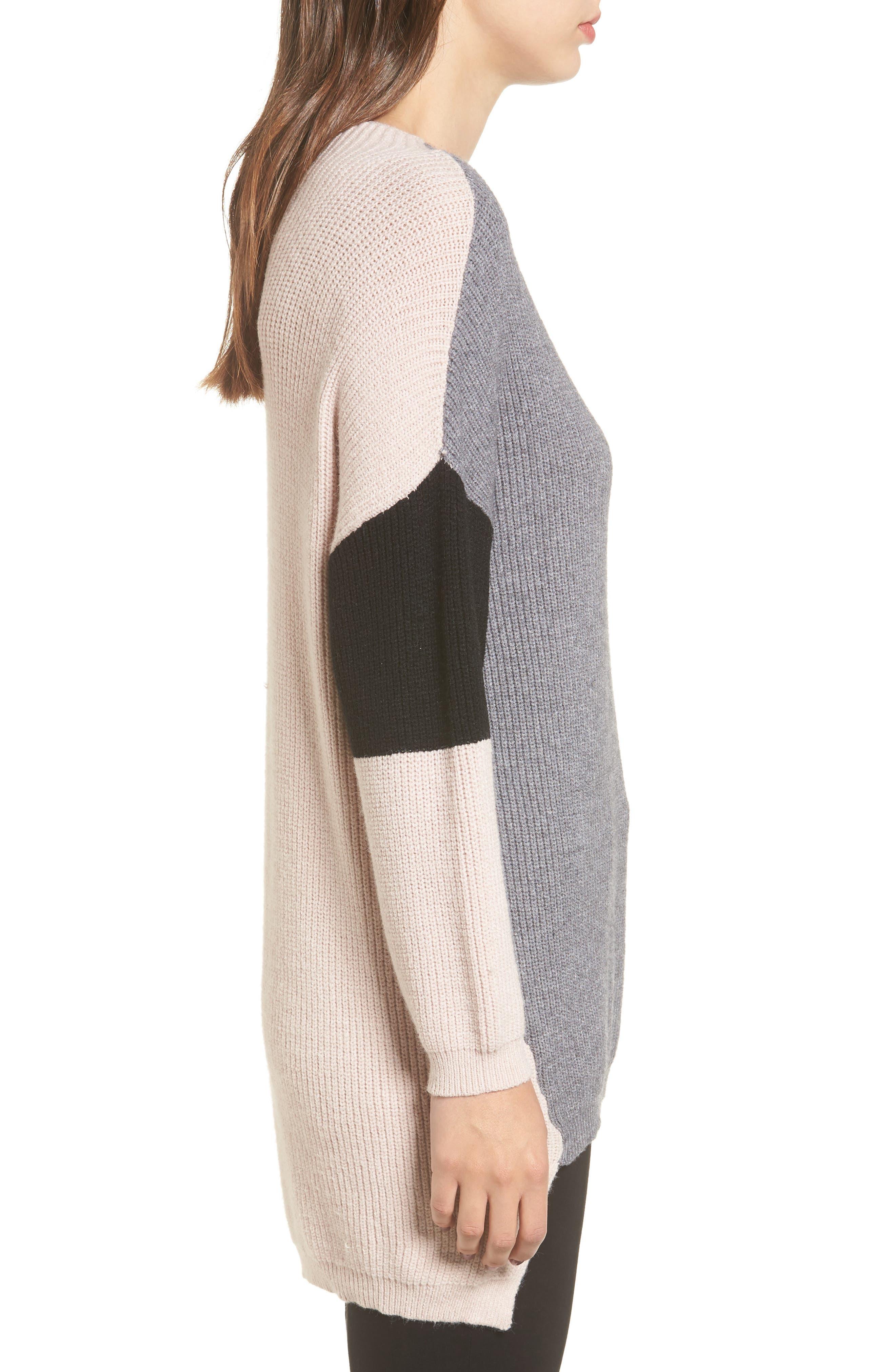 Colorblock Tunic Sweater,                             Alternate thumbnail 3, color,                             020