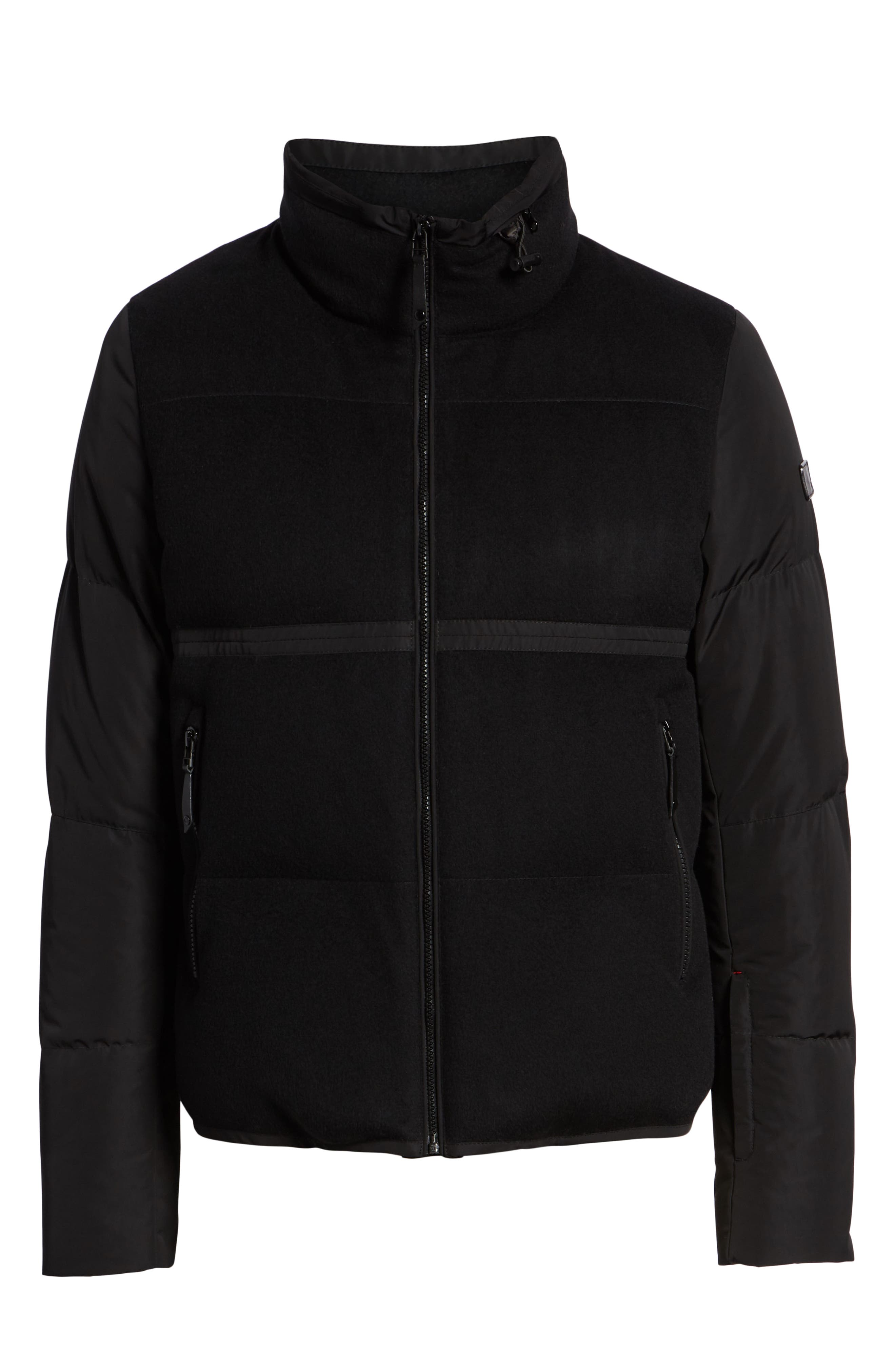 Wool Puffer Jacket,                             Alternate thumbnail 6, color,                             BLACK