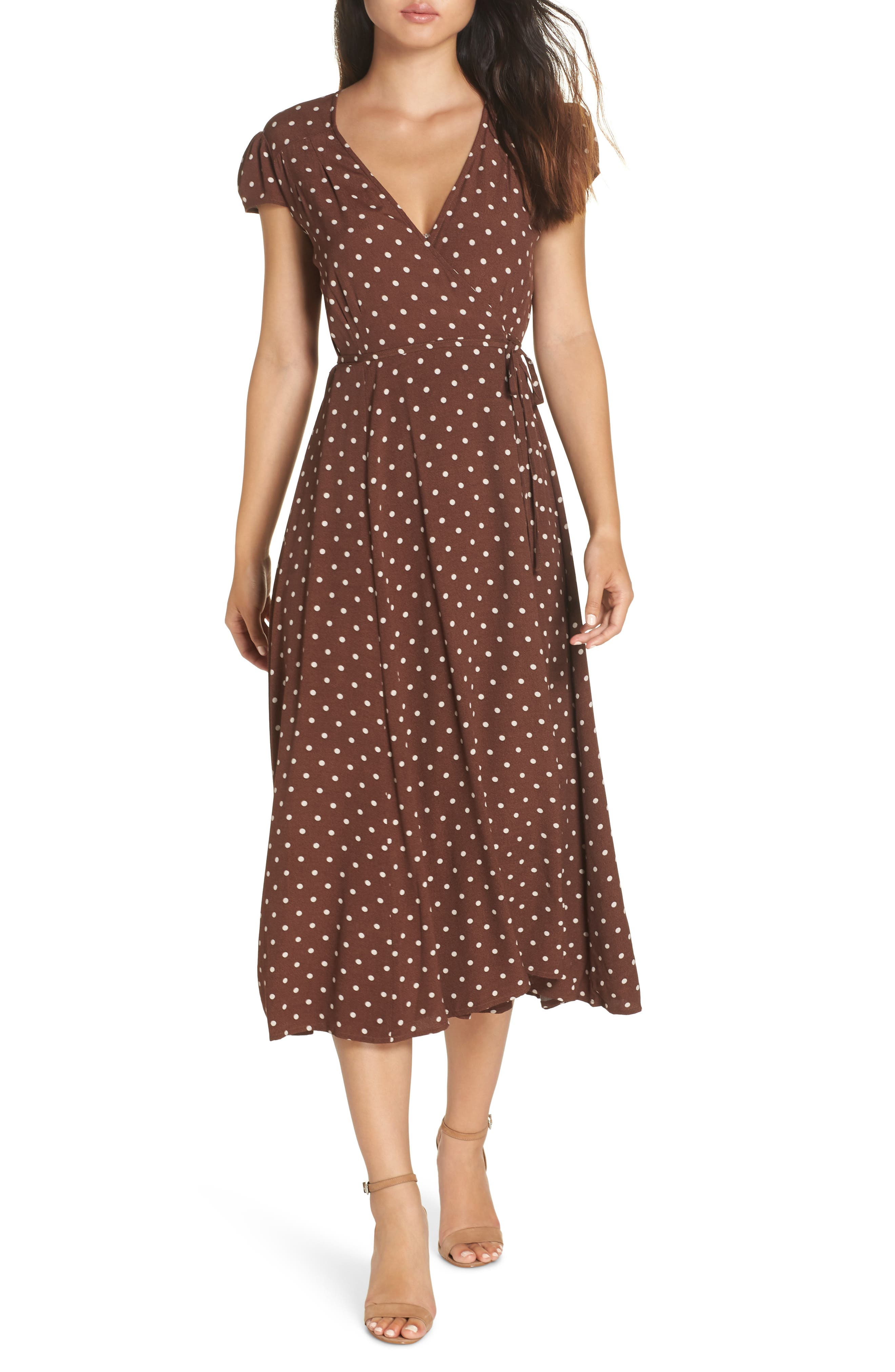 1930s Outfit Ideas for Women Womens Bardot Polka Dot Wrap Dress Size Medium - Brown $119.00 AT vintagedancer.com