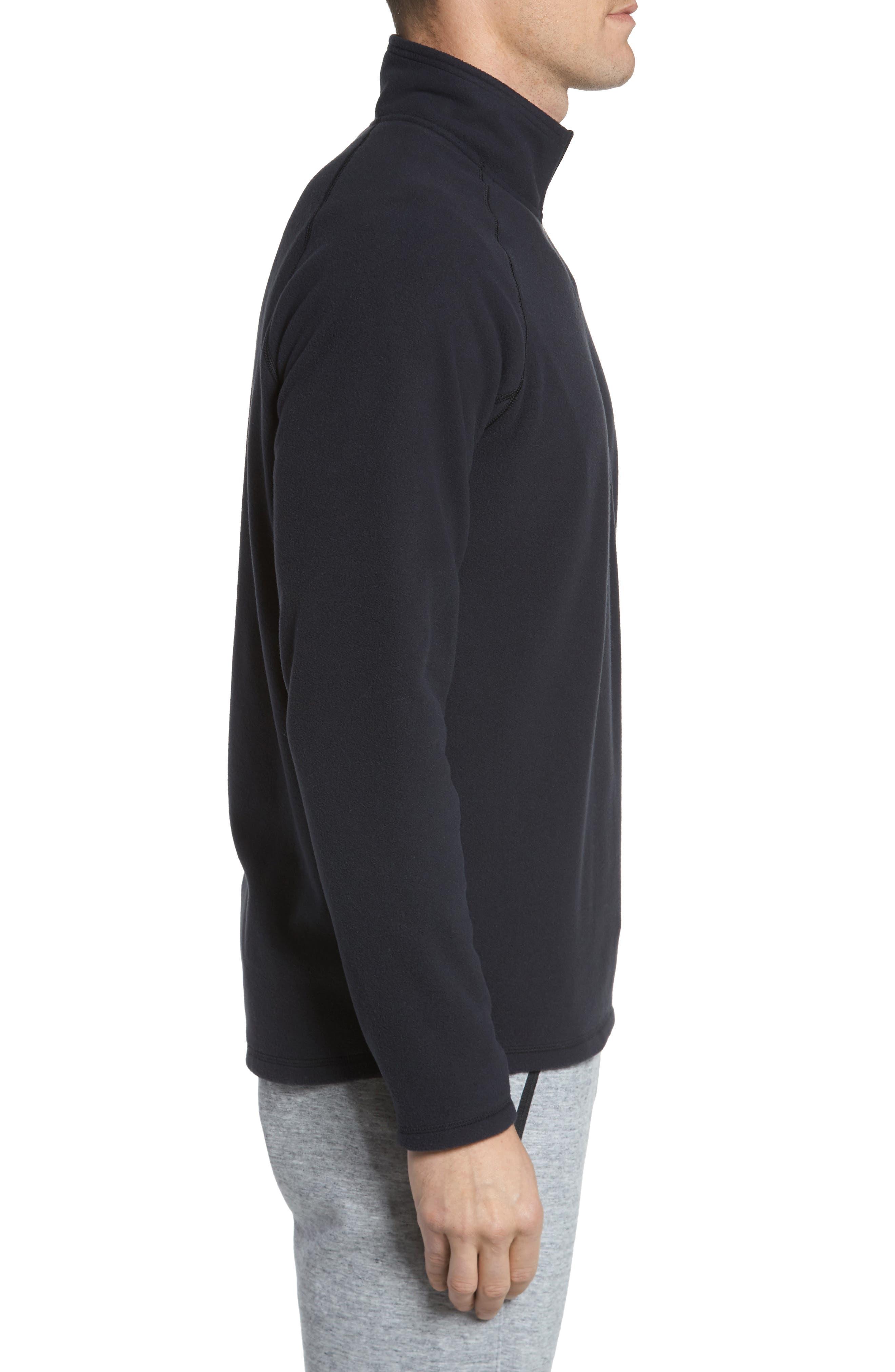 Quarter Zip Fleece Pullover,                             Alternate thumbnail 3, color,                             001