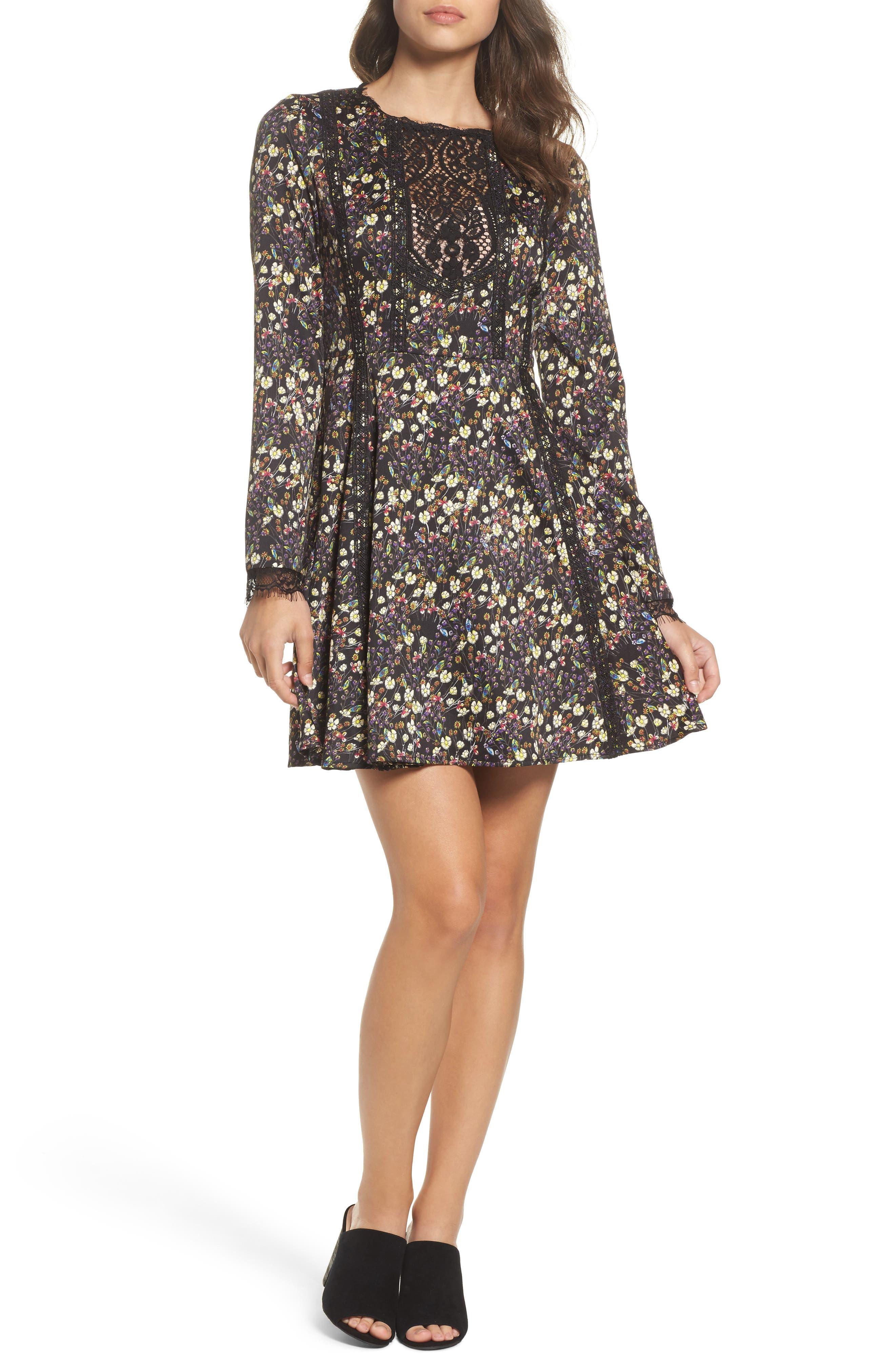 Hallie Fit & Flare Dress,                             Main thumbnail 1, color,                             BLACK MULTI