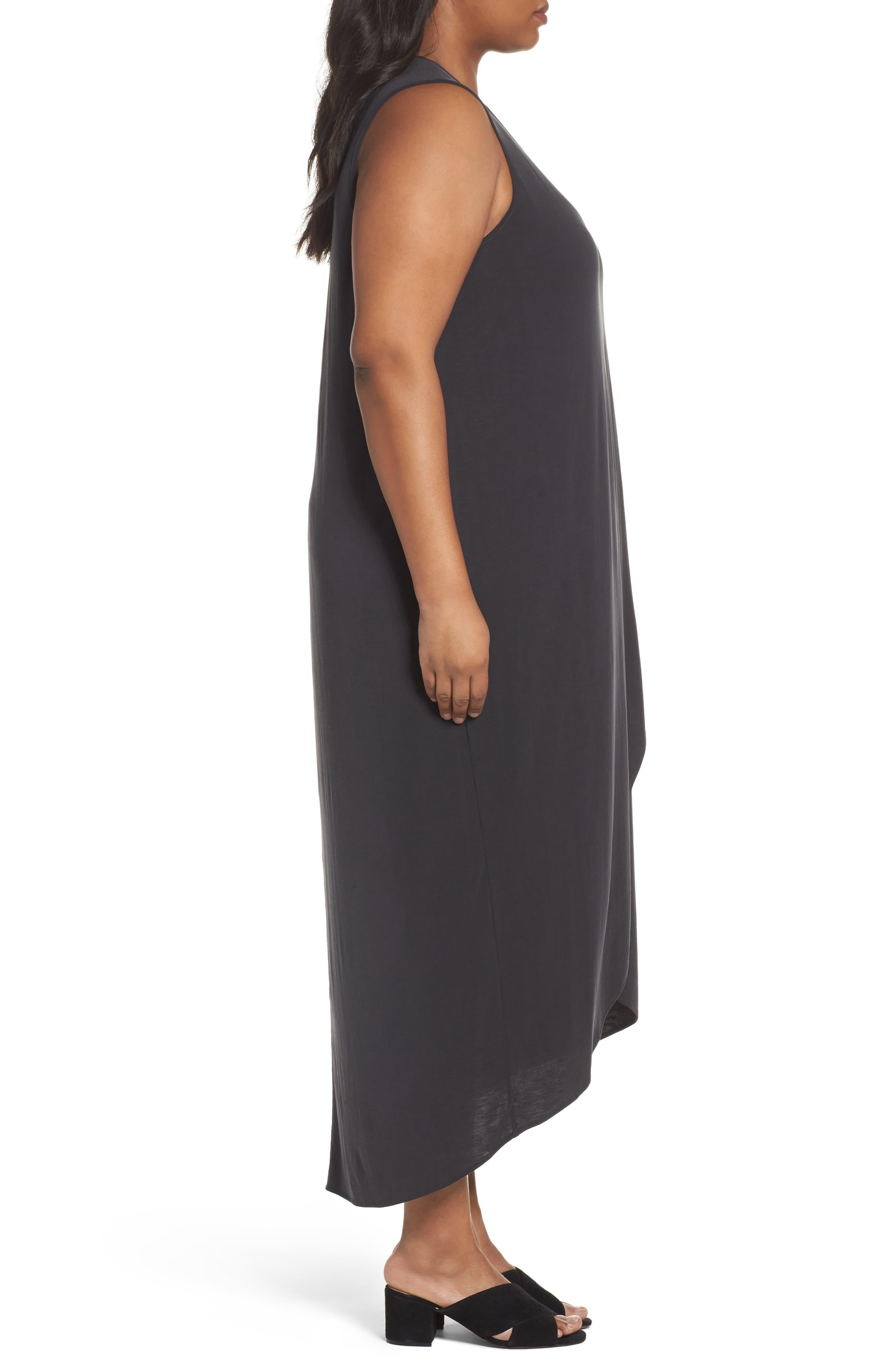 Boardwalk Jersey High/Low Dress,                             Alternate thumbnail 3, color,                             WASHED BLACK