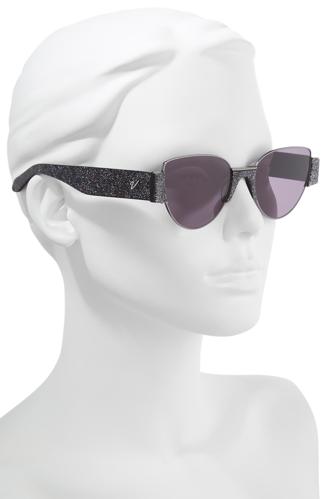 Dahlia 55mm Cat Eye Sunglasses,                             Alternate thumbnail 2, color,                             MULTI GLITTER/ GUNMETAL/ SMOKE