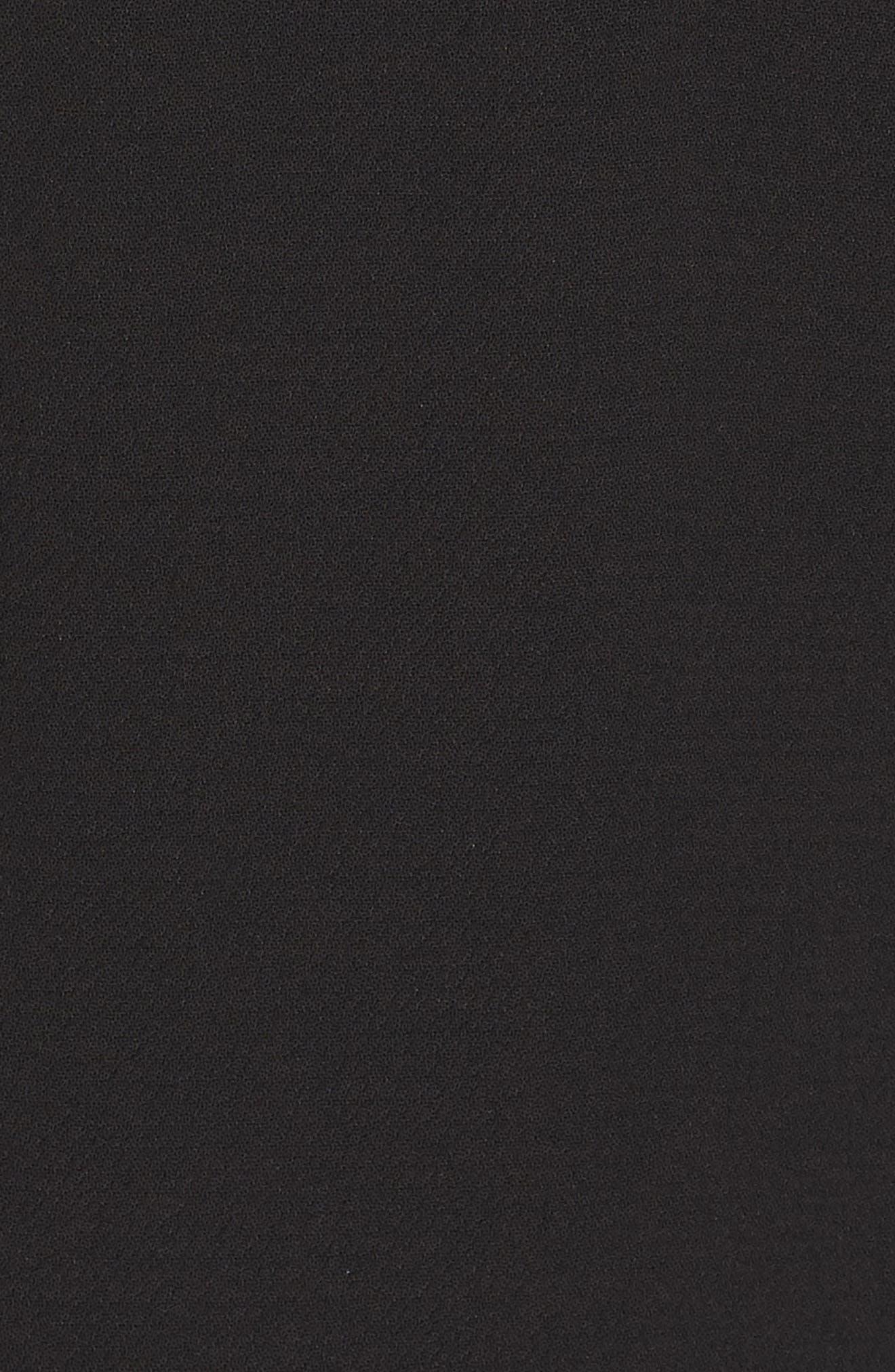 Tie Front Crepe Dress,                             Alternate thumbnail 6, color,                             BLACK