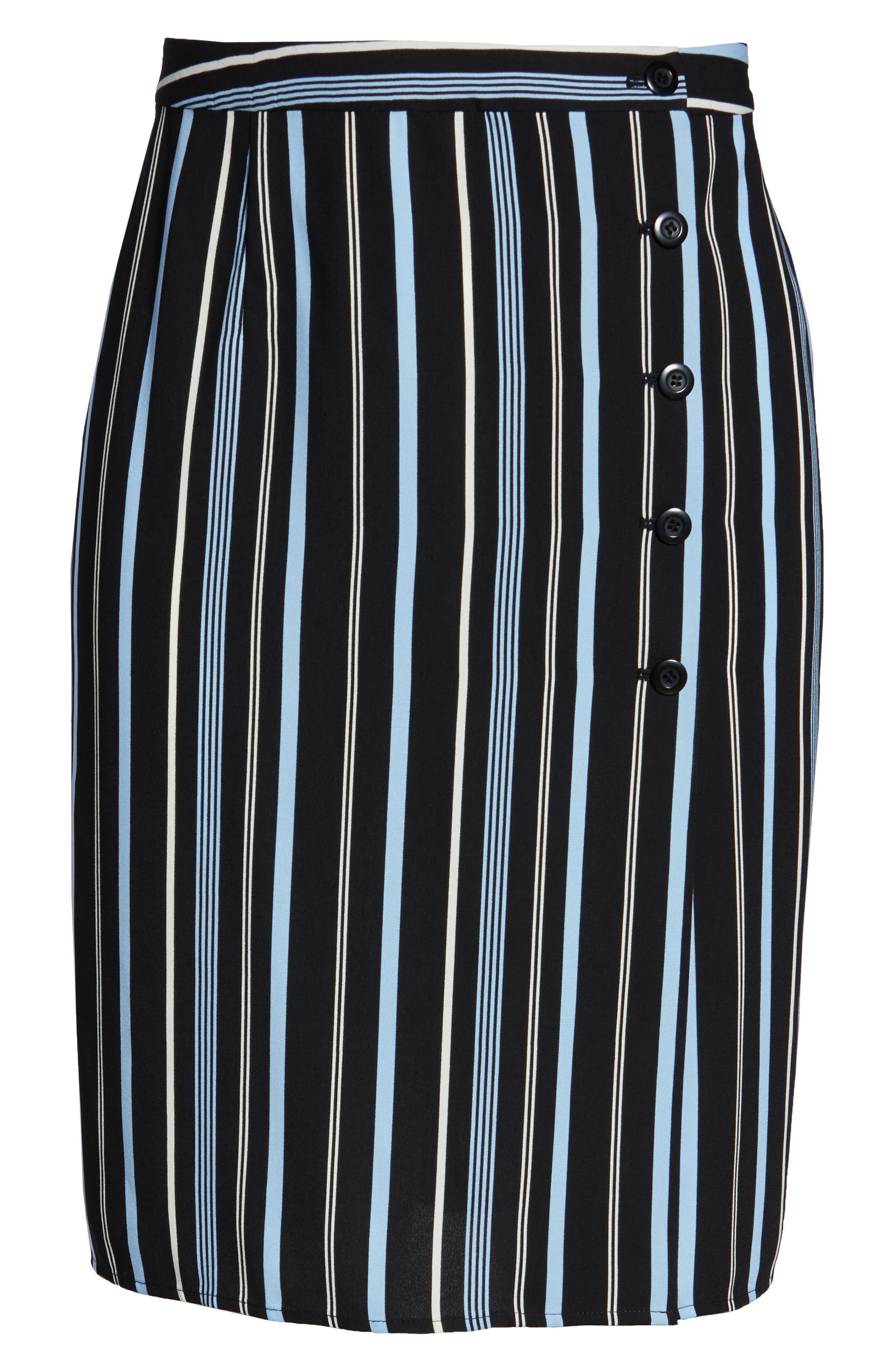 Button Wrap Skirt,                             Alternate thumbnail 12, color,                             BLACK MULTI COLORED STRIPE