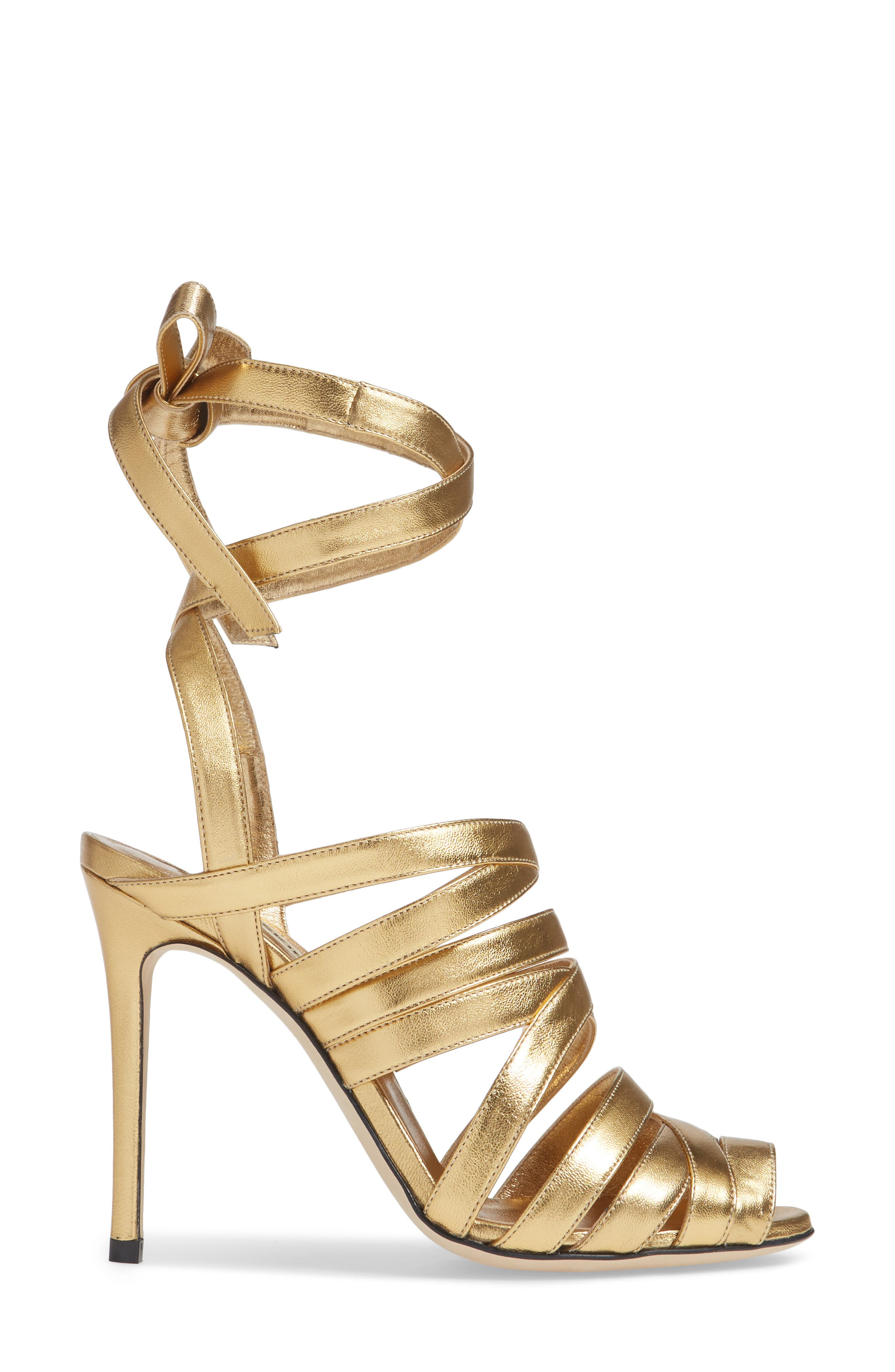 Nadege Strappy Pump,                             Alternate thumbnail 3, color,                             GOLD LEATHER