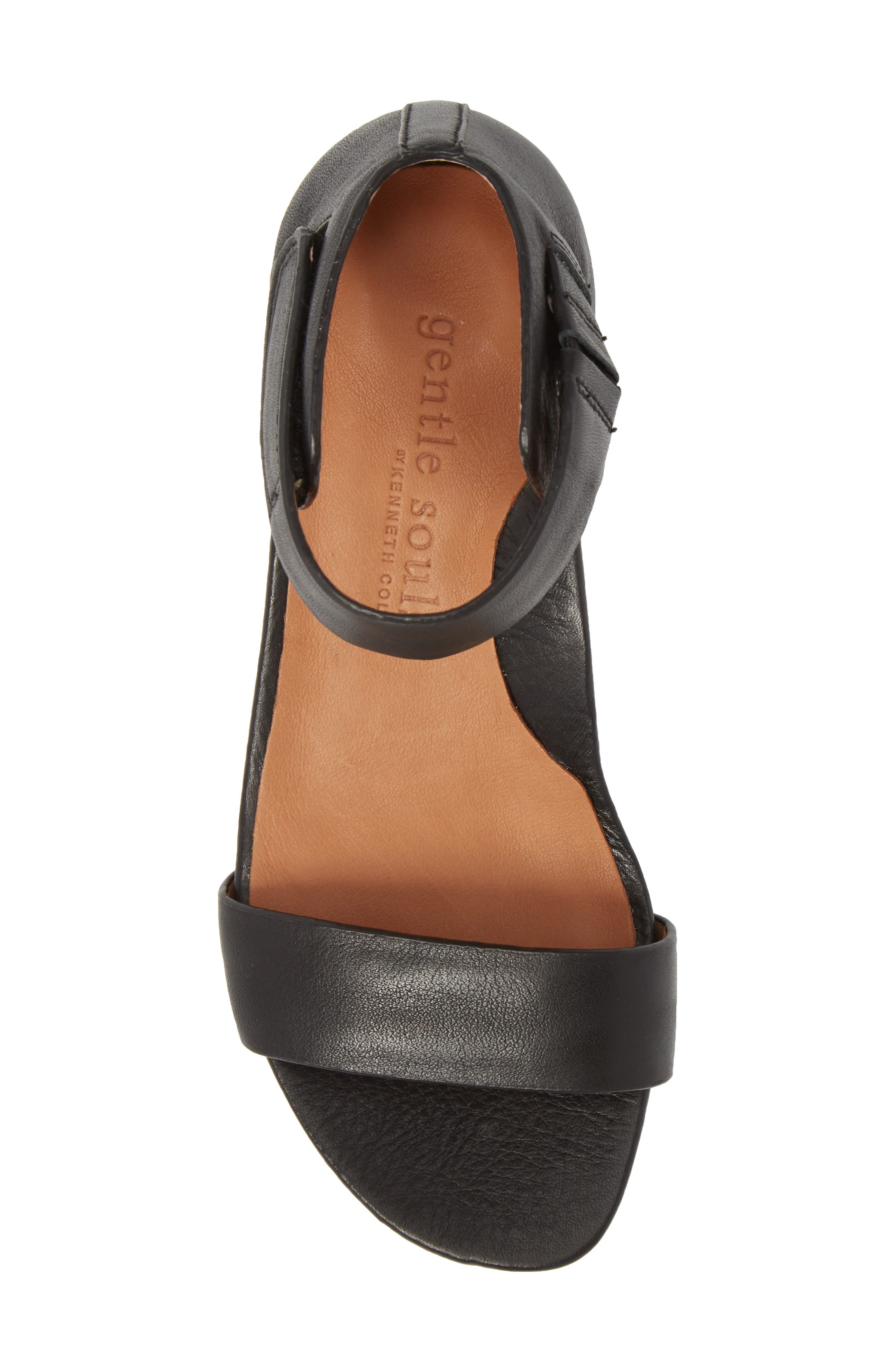 by Kenneth Cole Gianna Wedge Sandal,                             Alternate thumbnail 5, color,                             BLACK LEATHER