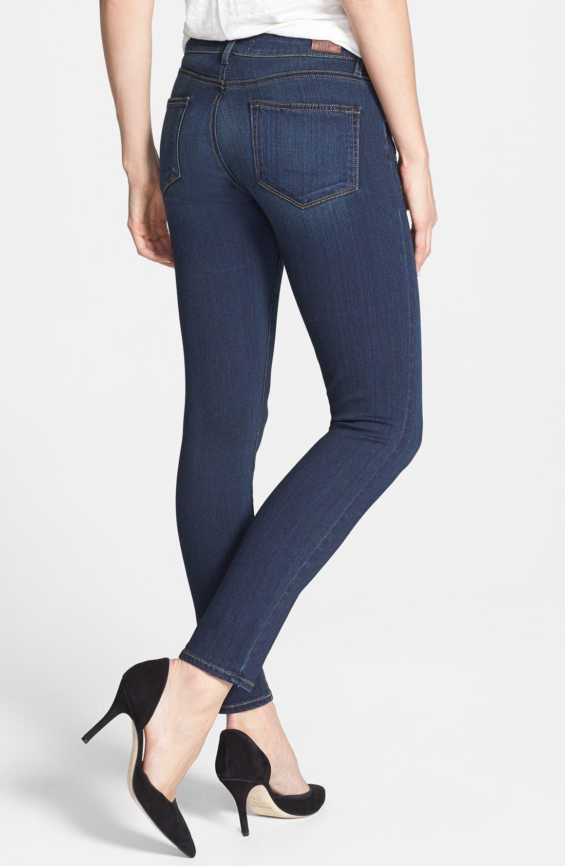Transcend - Edgemont Zip Detail Ultra Skinny Jeans,                             Alternate thumbnail 3, color,                             400