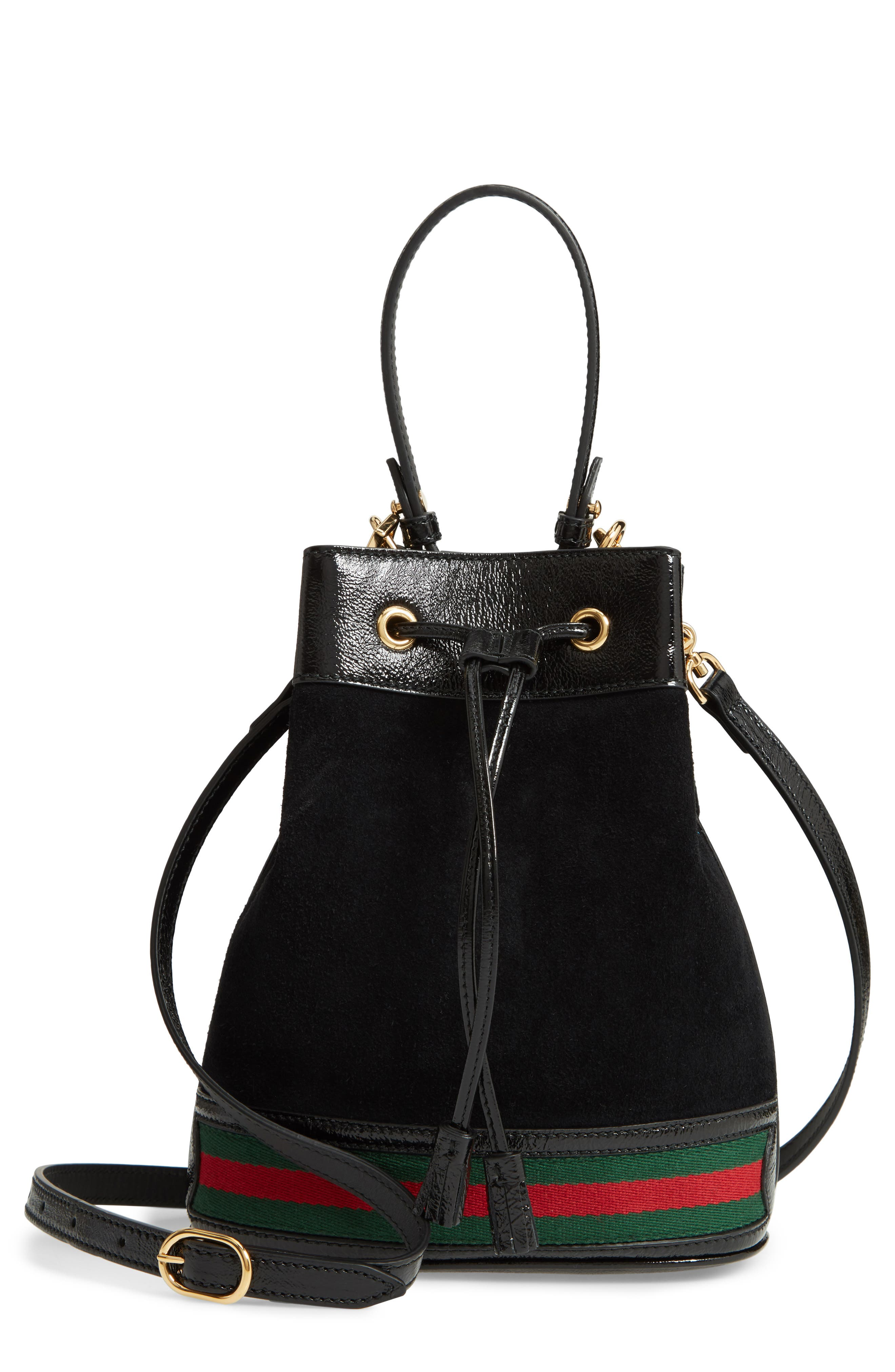 Small Ophidia Suede & Leather Bucket Bag,                             Main thumbnail 1, color,                             NERO/ VERT/ RED