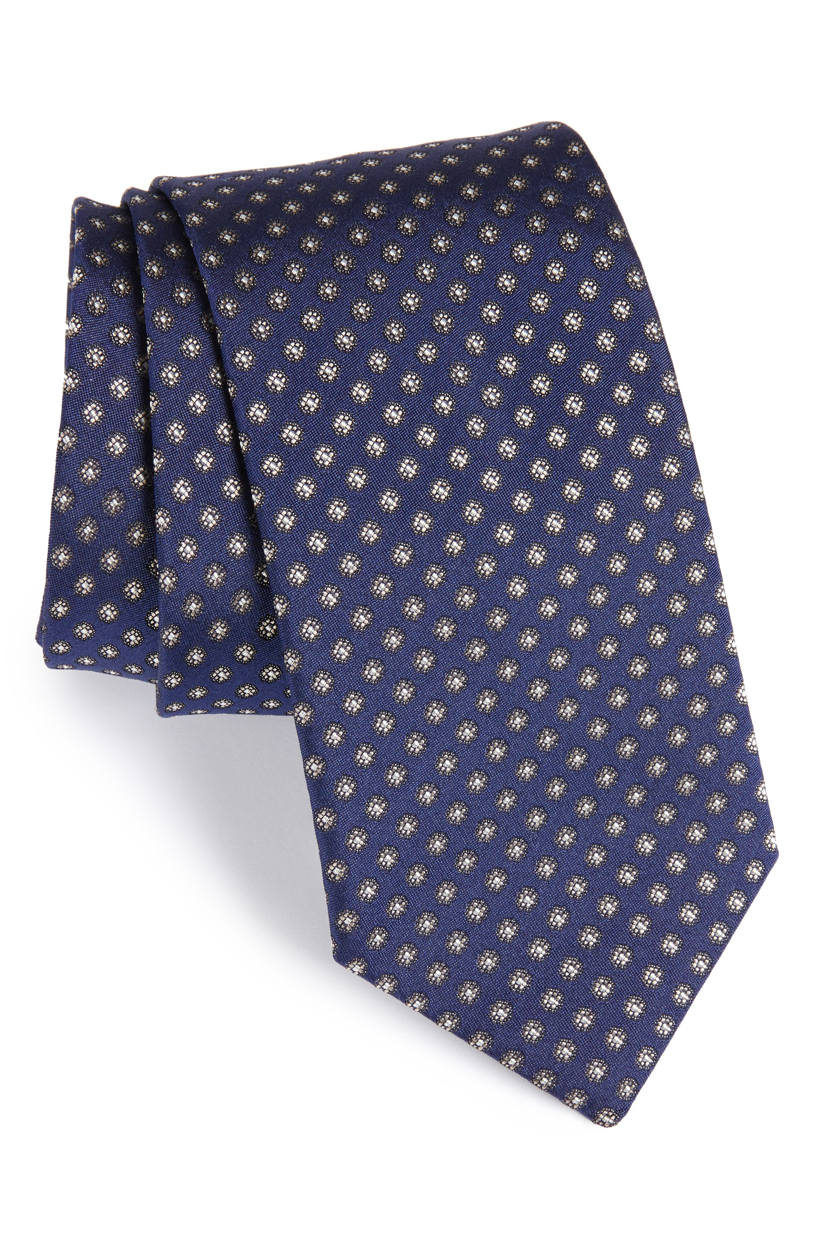 Floral Silk Tie,                             Main thumbnail 1, color,                             NAVY/ BROWN