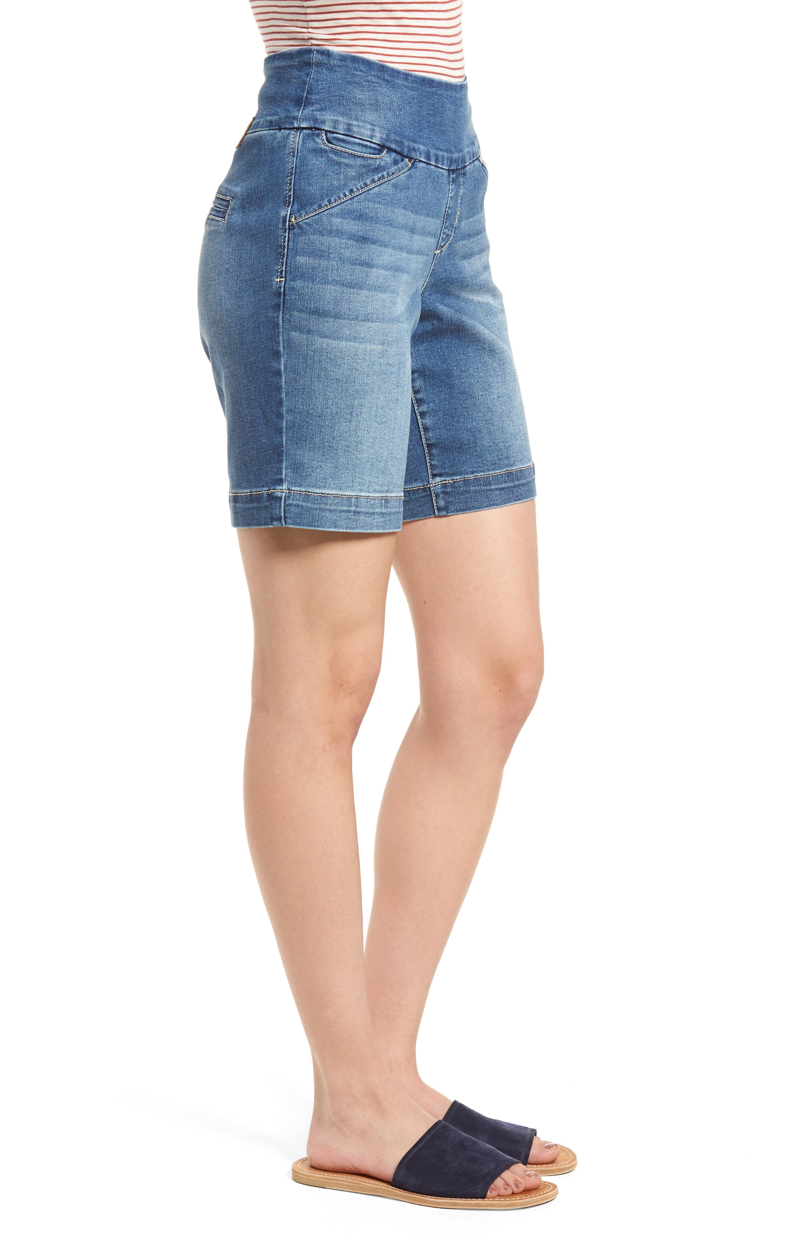 Ainsley Pull-On Stretch Denim Shorts,                             Alternate thumbnail 3, color,                             420