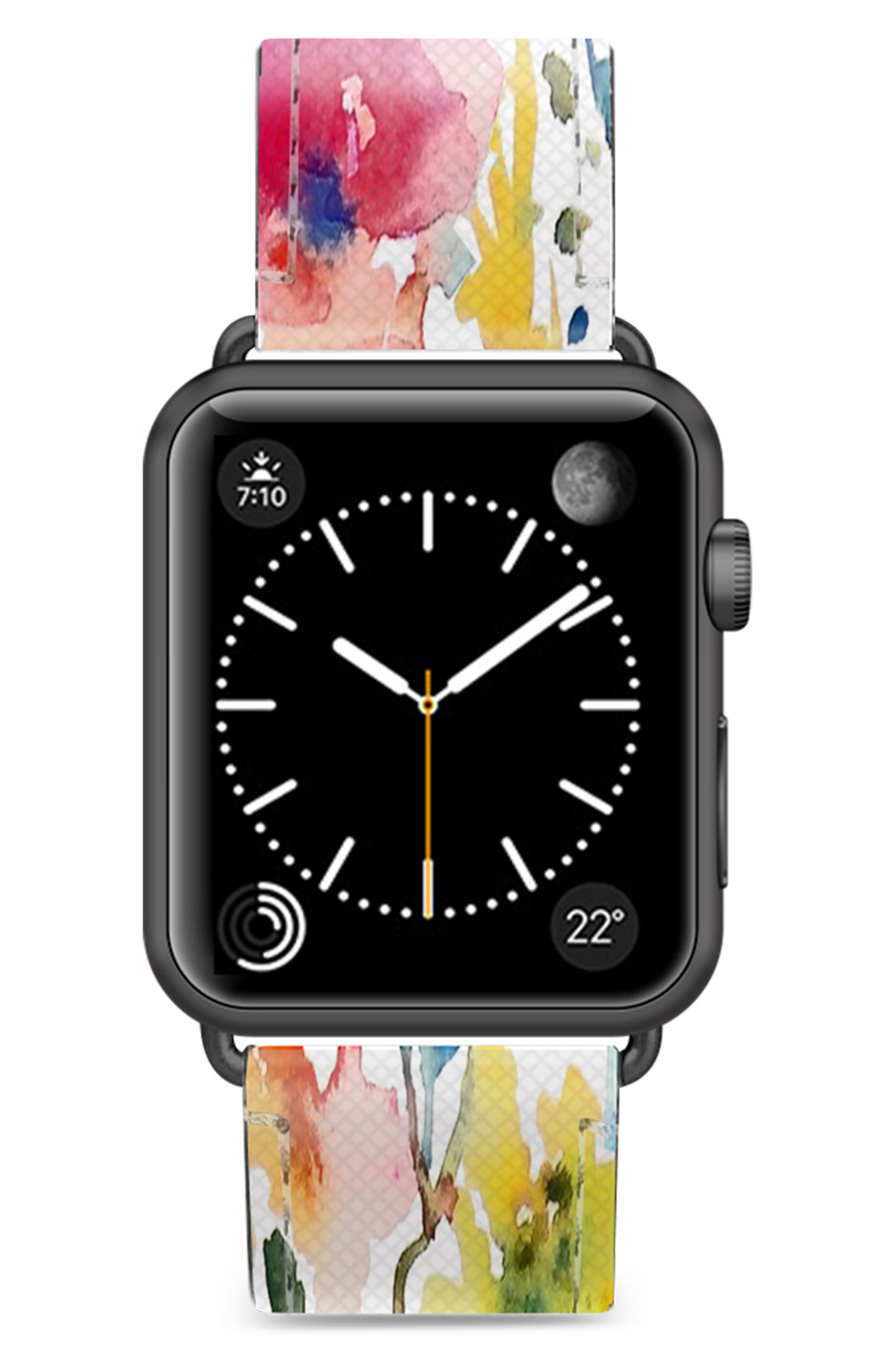 Saffiano From the Garden Faux Leather Apple Watch Strap,                             Main thumbnail 1, color,                             WHITE/ BLACK