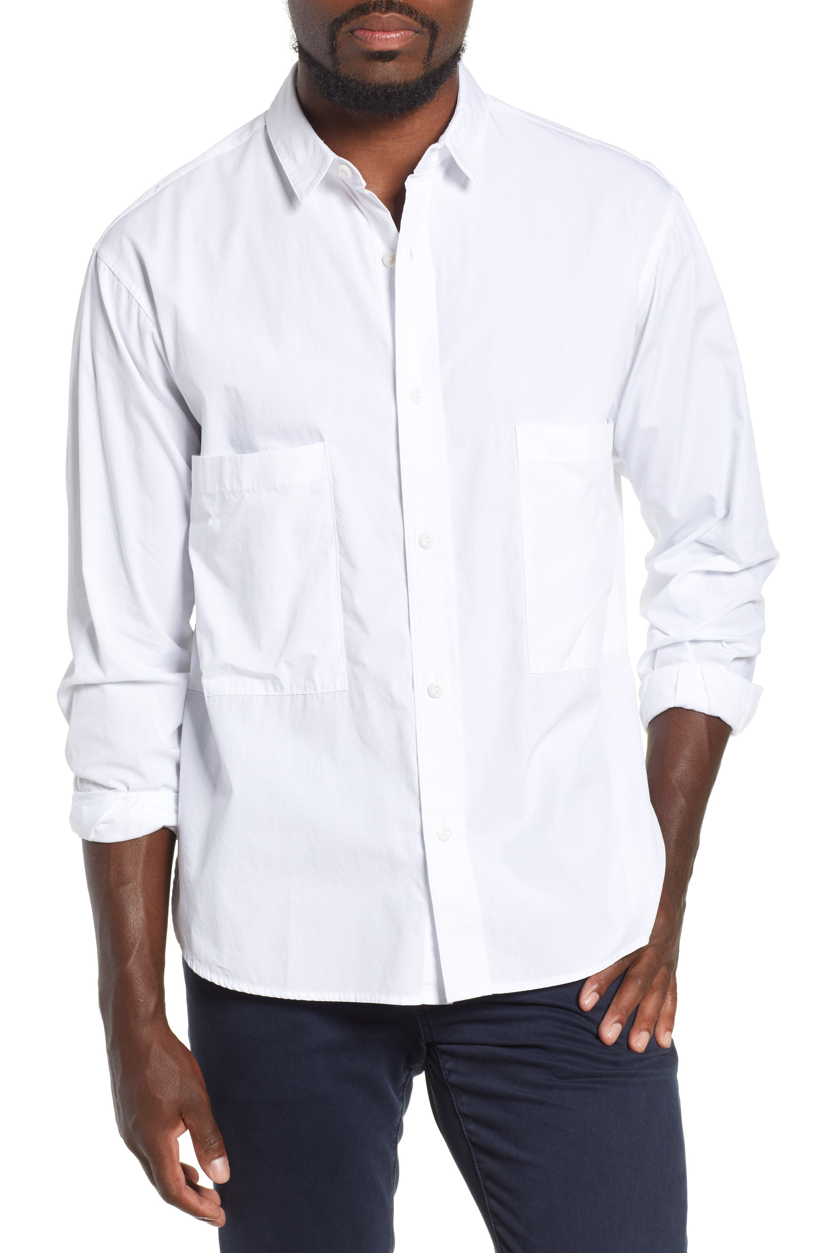 Shiro Oversize Pockets Regular Fit Sport Shirt,                             Main thumbnail 1, color,                             TRUE WHITE