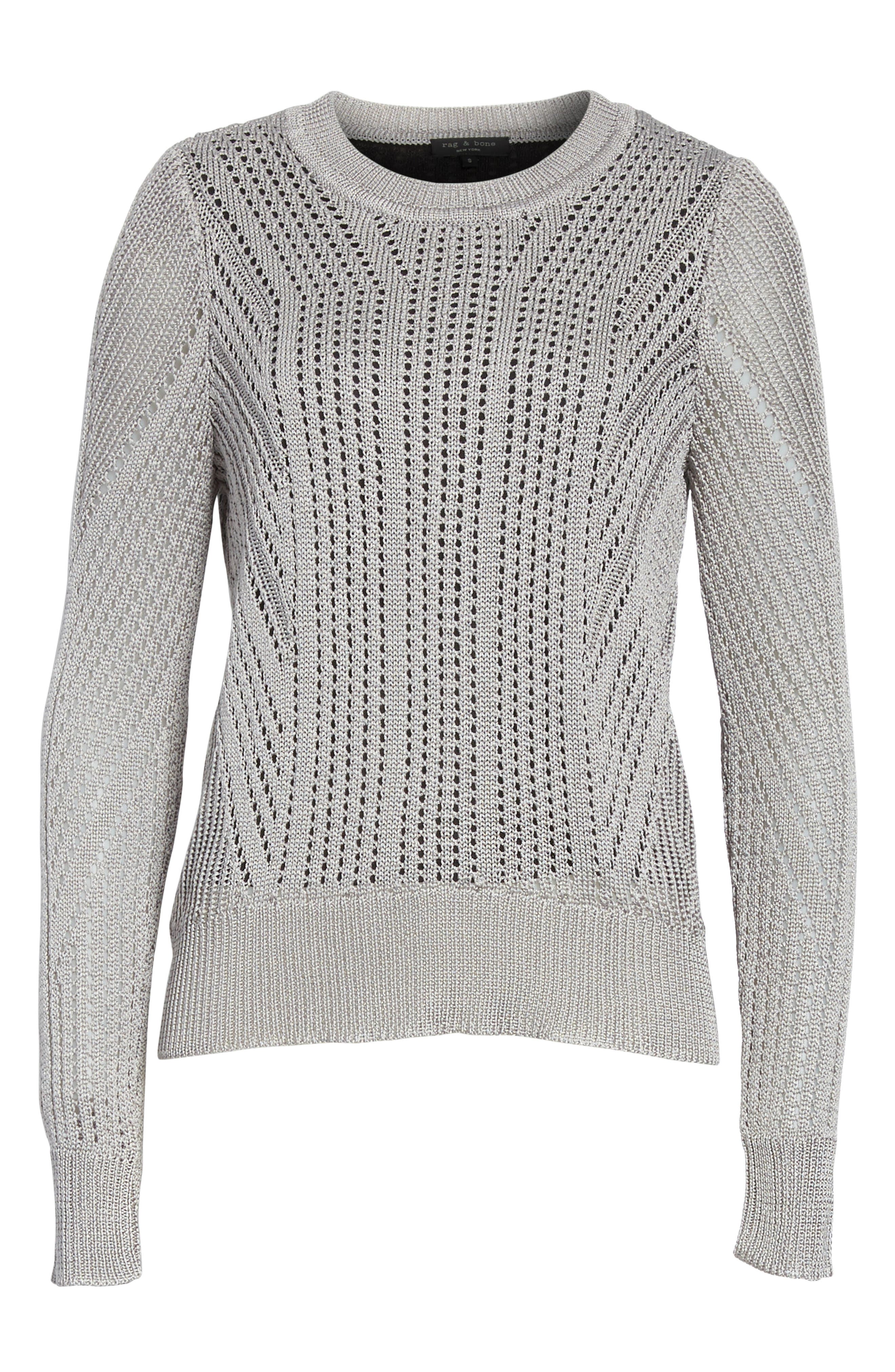 Pamela Crewneck Pointelle Sweater,                             Alternate thumbnail 11, color,