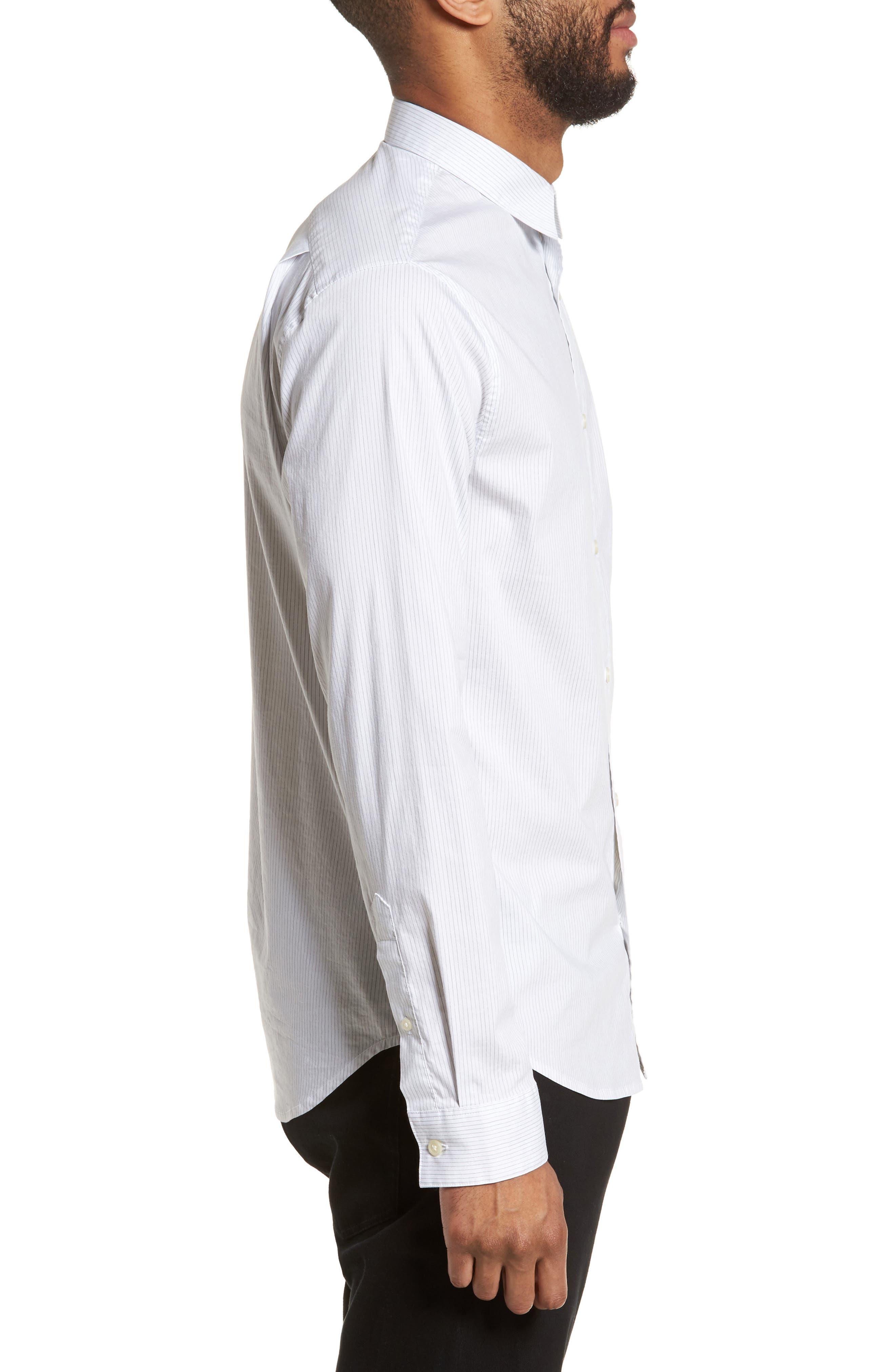 Regular Fit Stretch Stripe Sport Shirt,                             Alternate thumbnail 5, color,