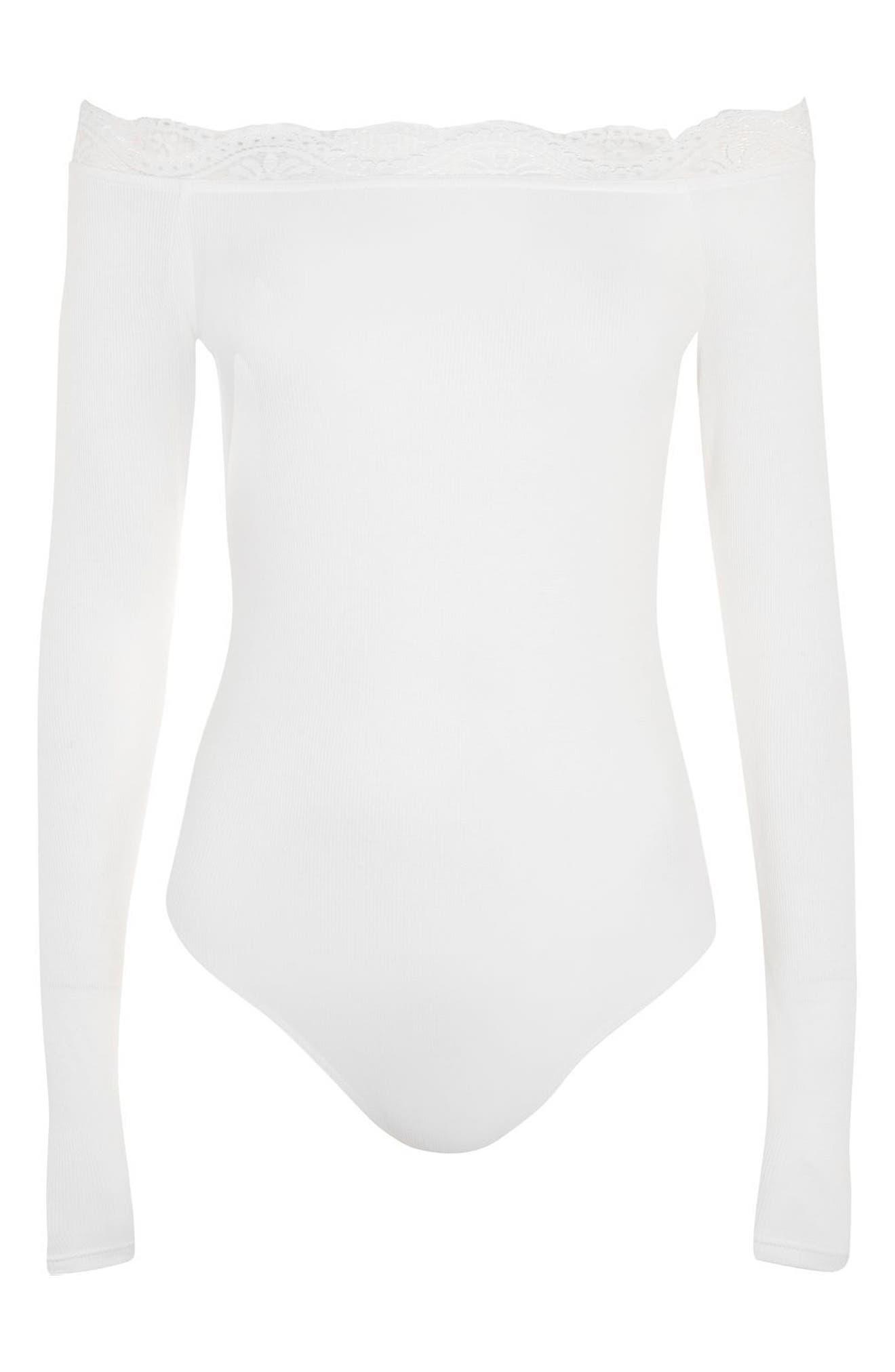 Lace Trim Off the Shoulder Bodysuit,                             Alternate thumbnail 8, color,