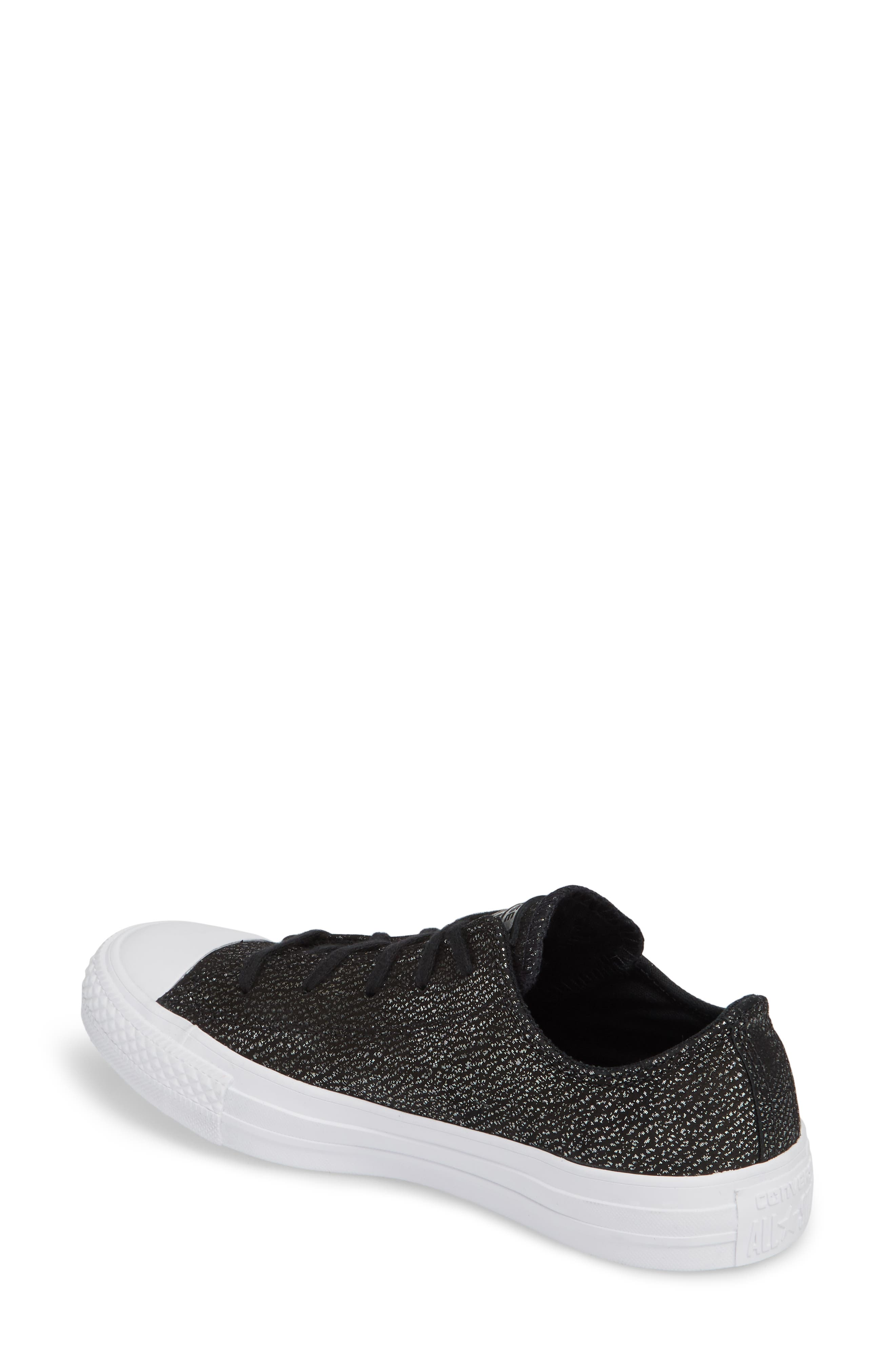 Chuck Taylor<sup>®</sup> All Star<sup>®</sup> Tipped Metallic Low Top Sneaker,                             Alternate thumbnail 2, color,                             001