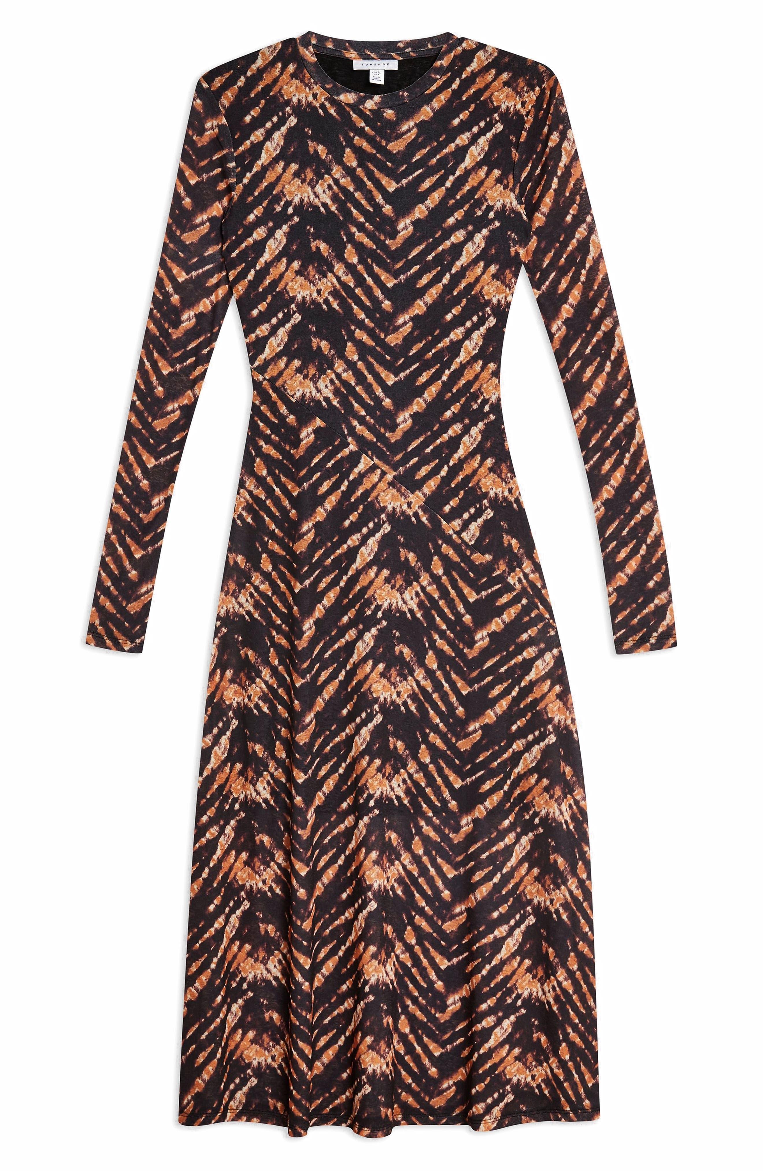 TOPSHOP,                             Tie Dye Mesh Midi Dress,                             Alternate thumbnail 4, color,                             BLACK MULTI