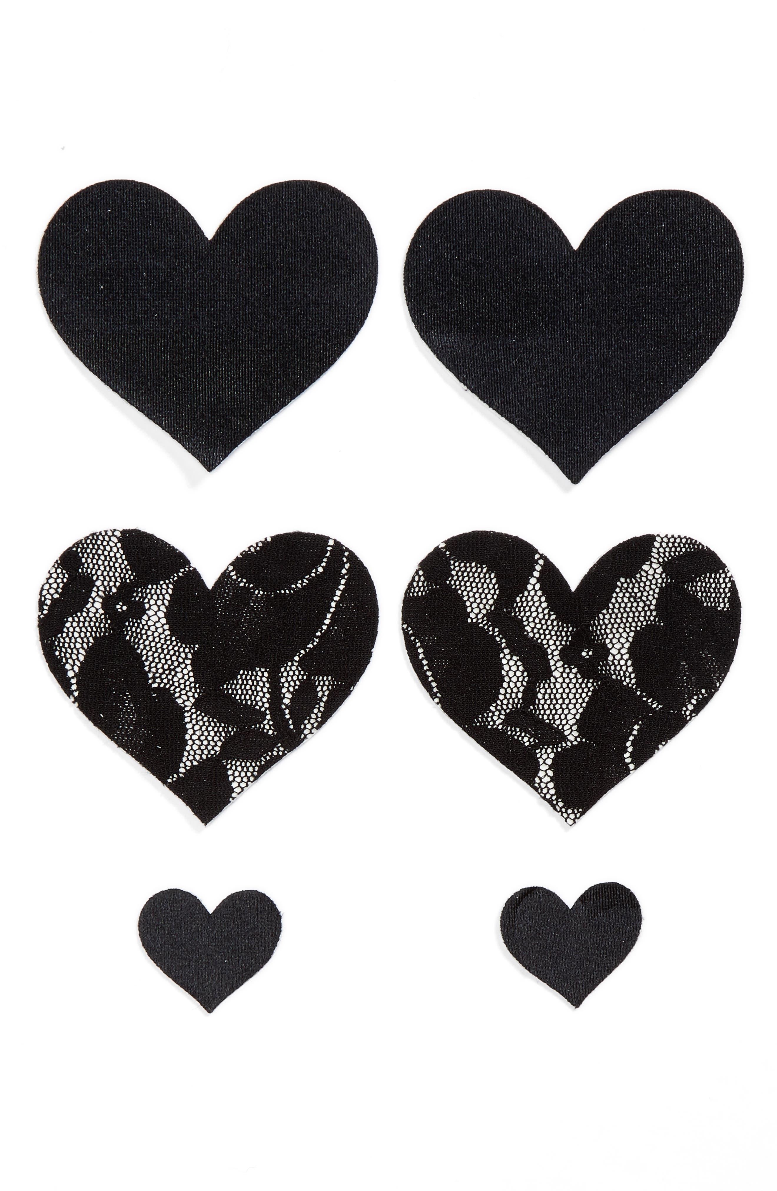Nippies by Bristols Six Heart Nipple Covers,                             Main thumbnail 1, color,                             BLACK
