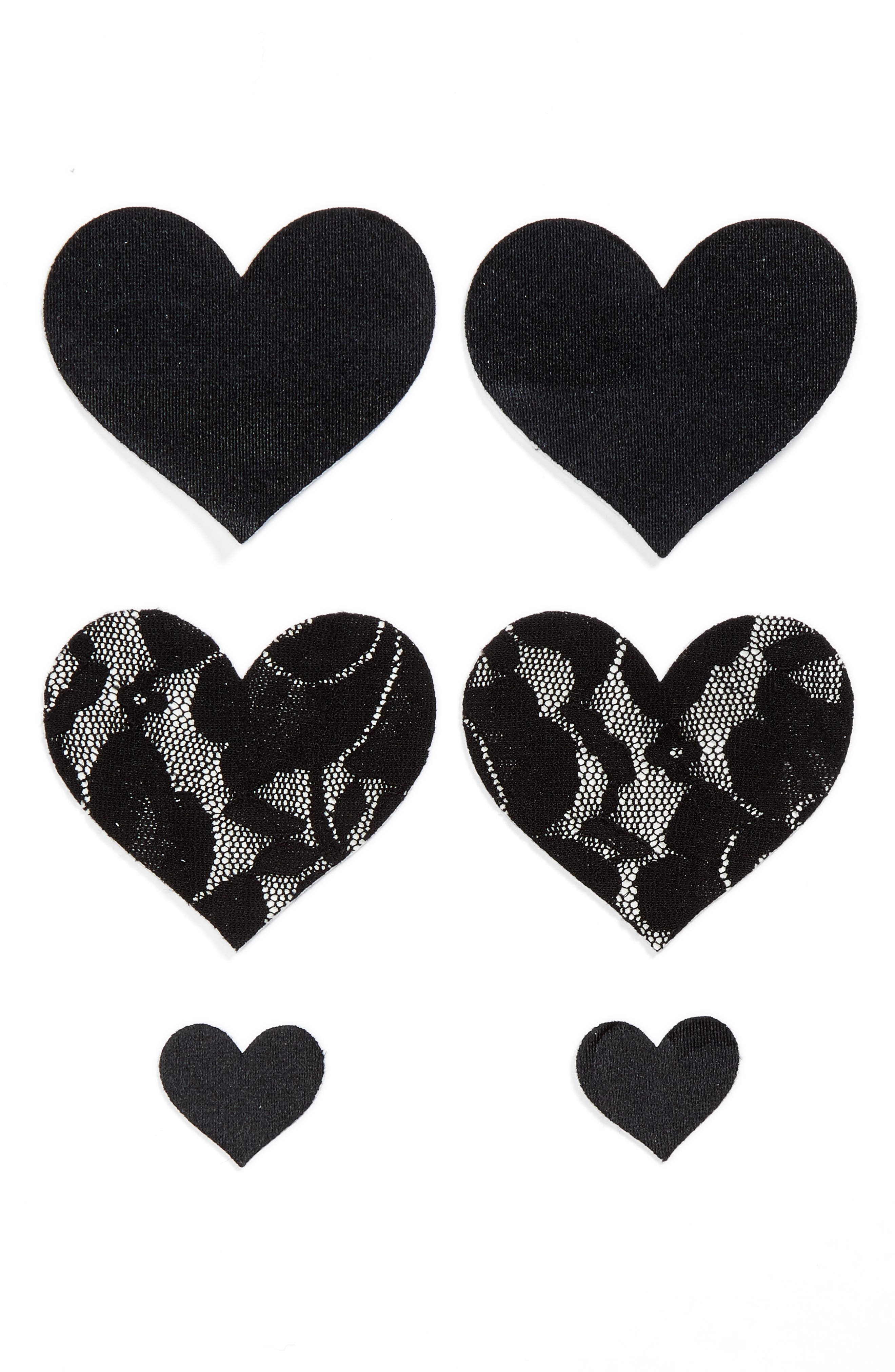 Nippies by Bristols Six Heart Nipple Covers,                         Main,                         color, BLACK