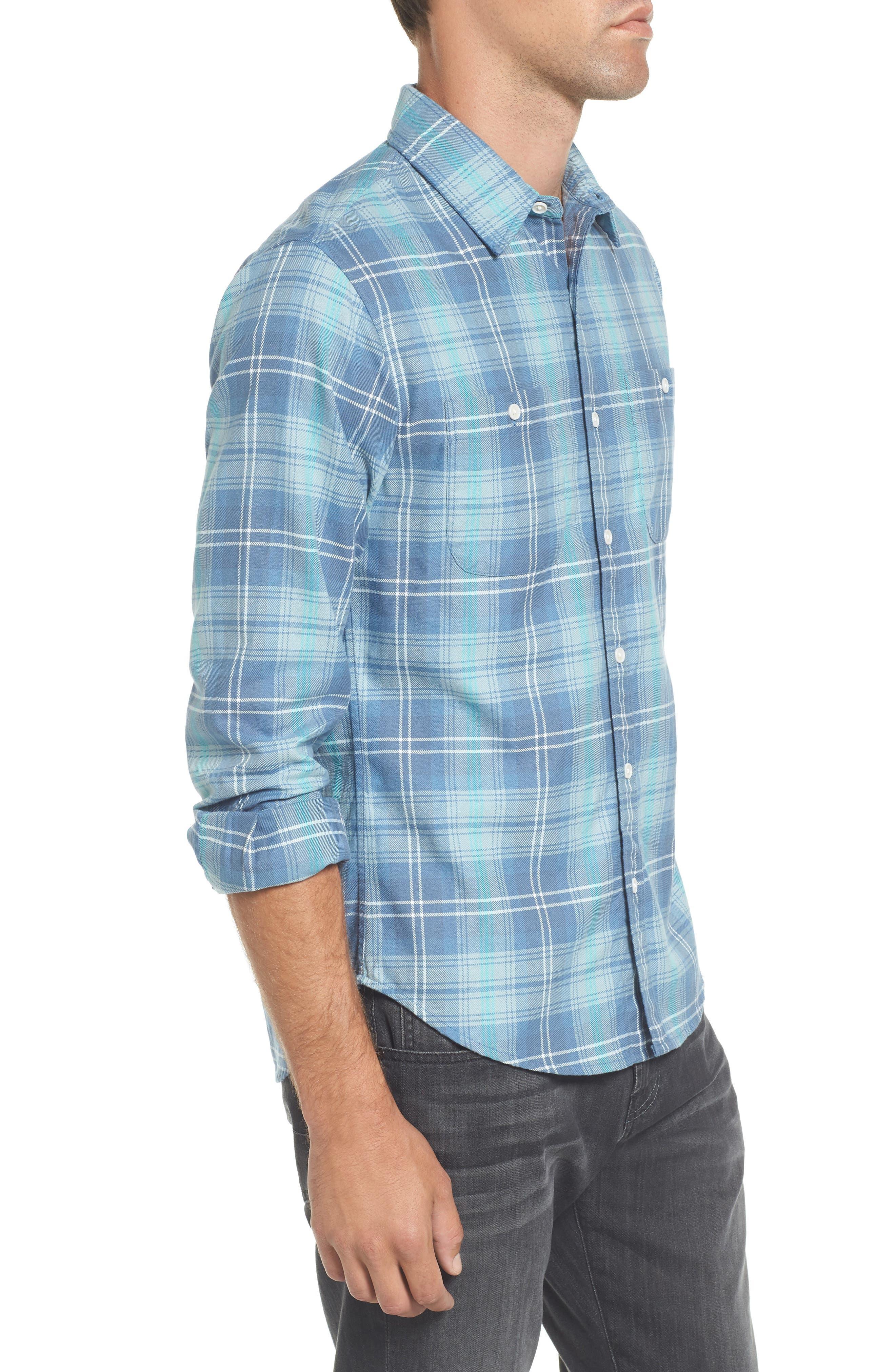 Slim Fit Plaid Flannel Sport Shirt,                             Alternate thumbnail 3, color,                             400