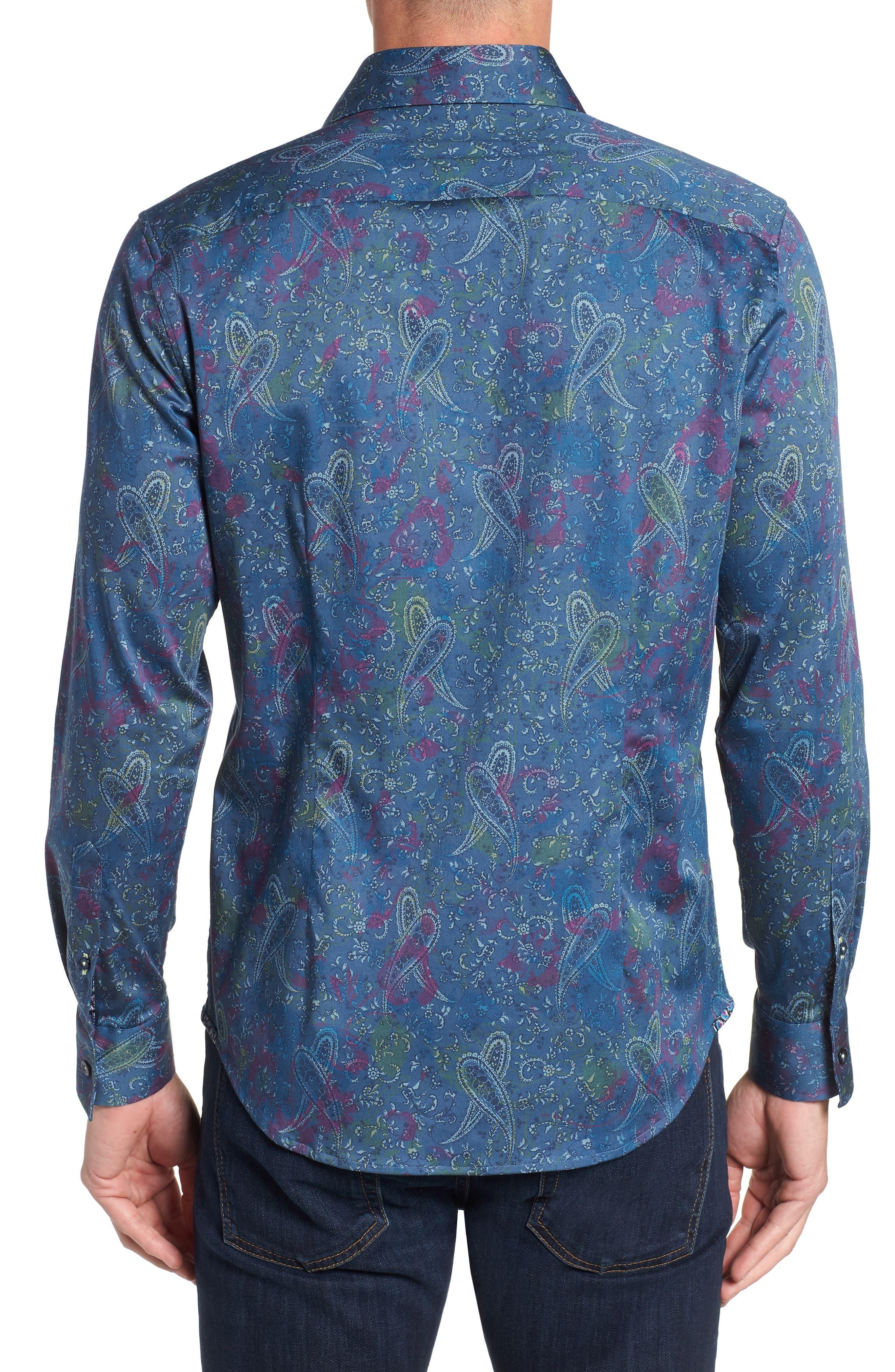 Carver Tailored Fit Sport Shirt,                             Alternate thumbnail 3, color,                             BLUE