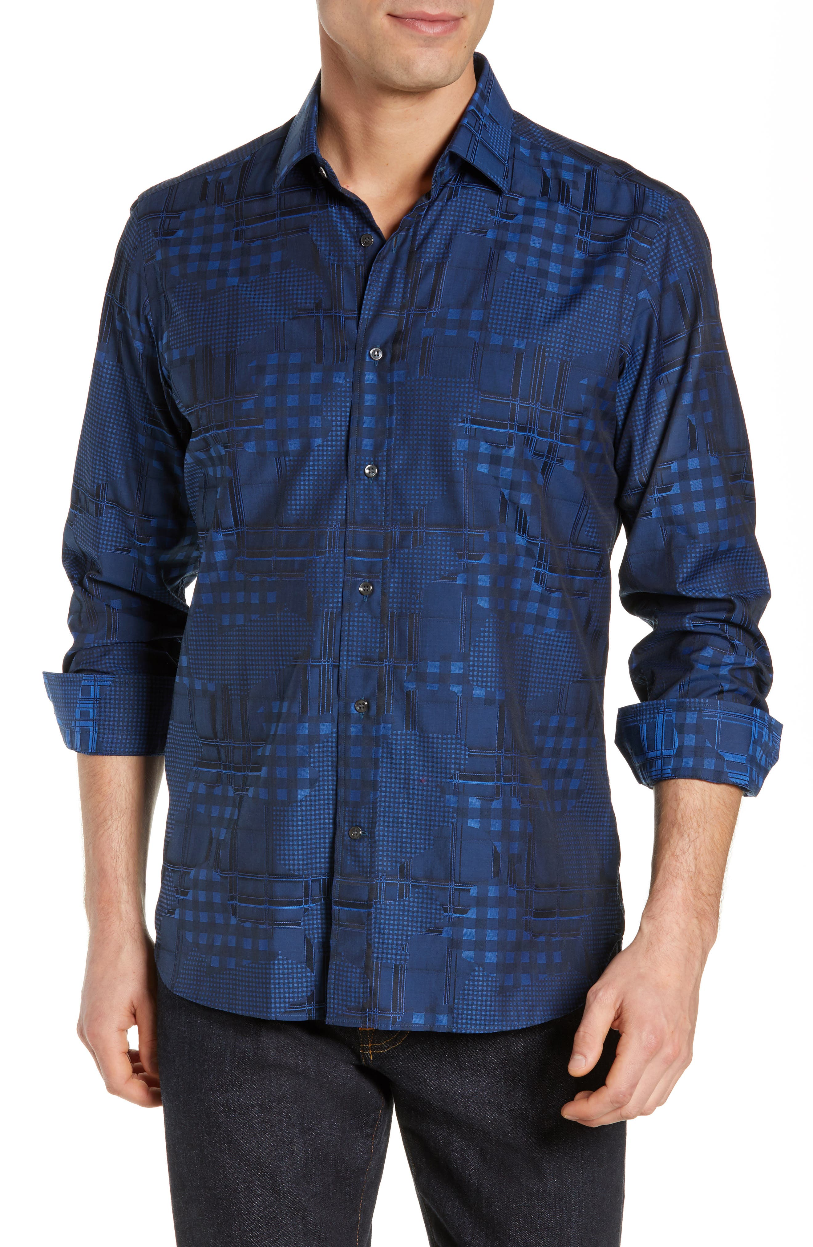 Luxor Tailored Fit Pattern Mix Sport Shirt,                         Main,                         color, NAVY