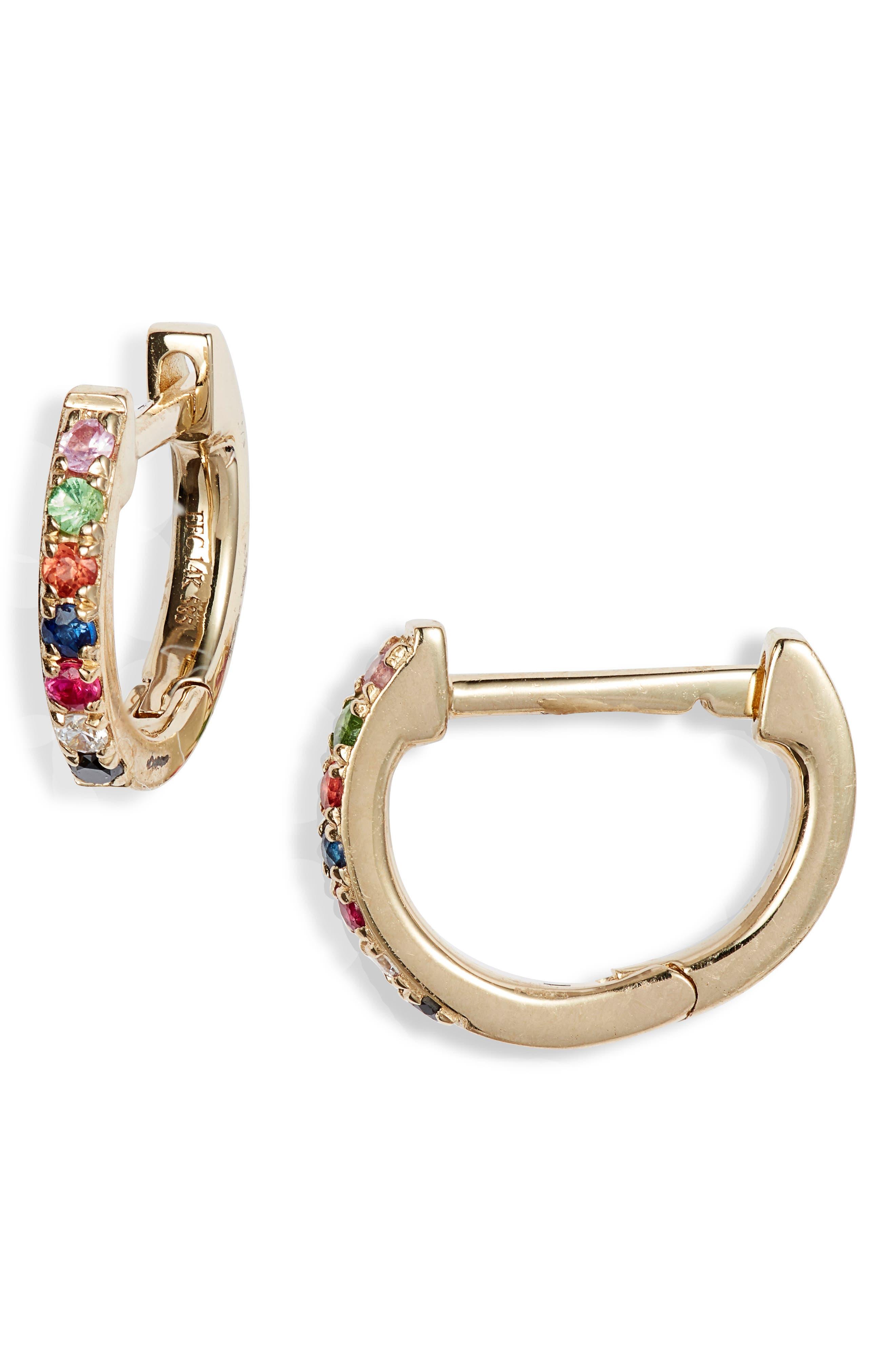 Rainbow Mini Huggie Hoop Earrings, Main, color, 710