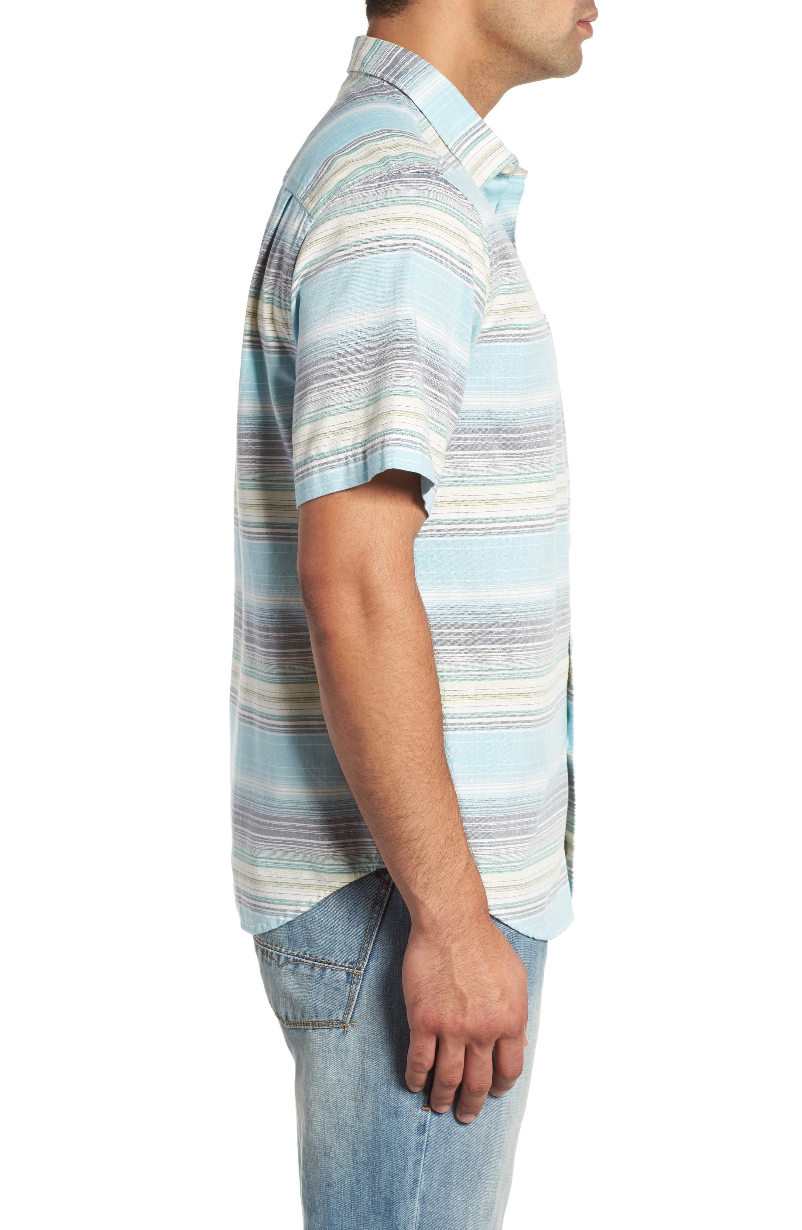 Somara Stripe Sport Shirt,                             Alternate thumbnail 4, color,                             AQUA MIST