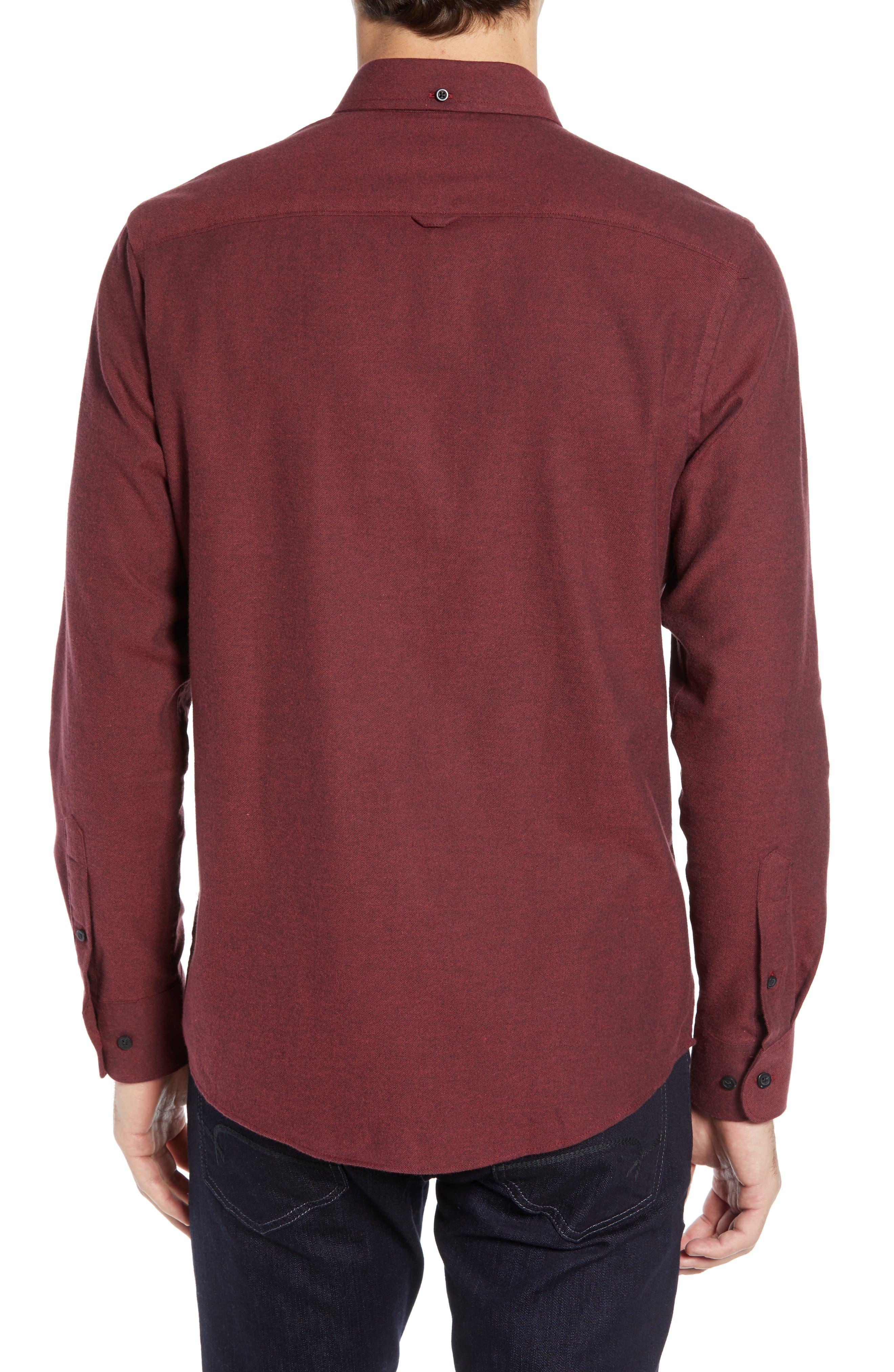 NORDSTROM MEN'S SHOP,                             Slim Fit Brushed Twill Sport Shirt,                             Alternate thumbnail 3, color,                             RED JESTER BRUSHED TWILL