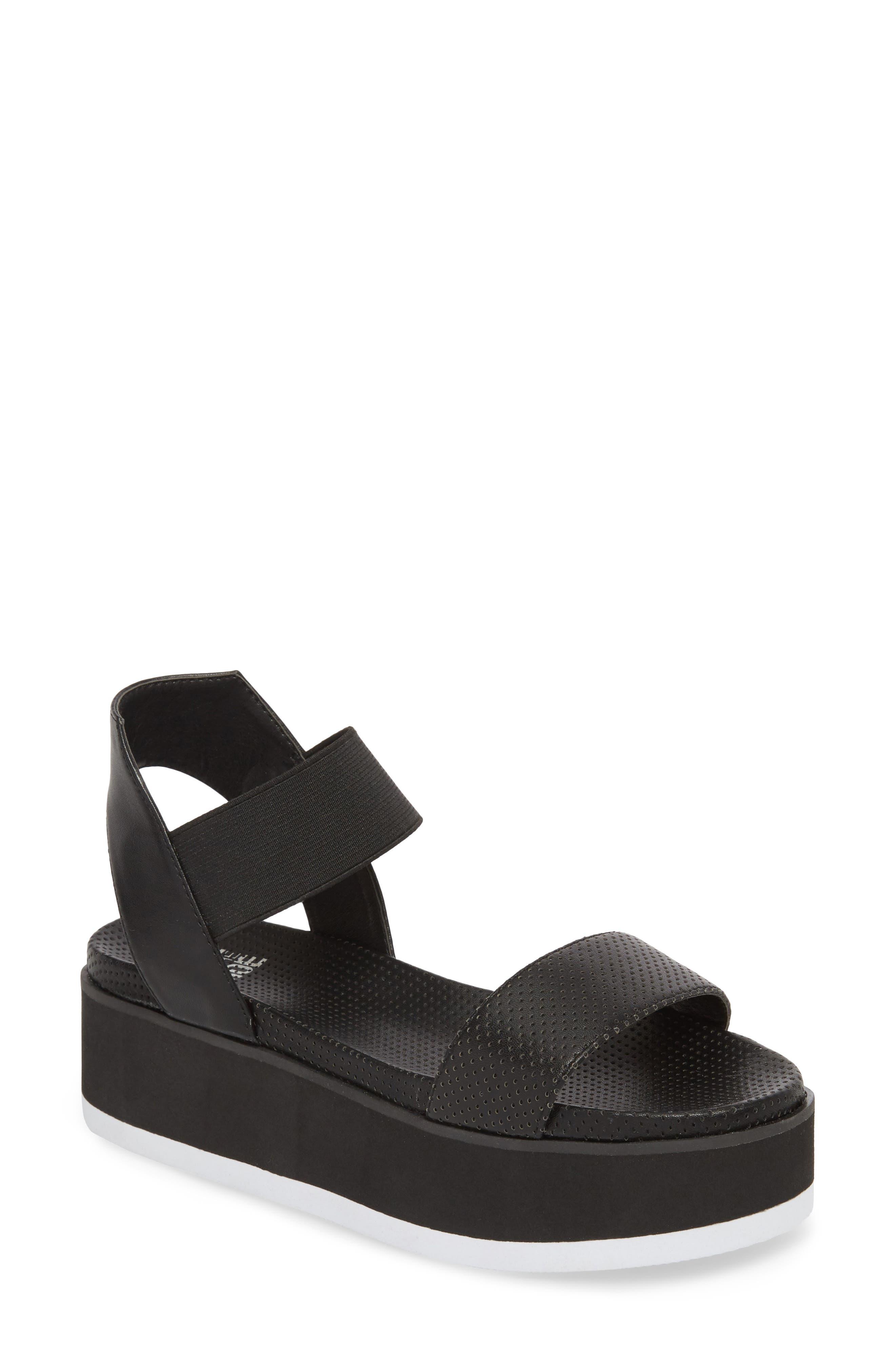 Josie Perforated Platform Sandal,                             Main thumbnail 1, color,                             BLACK