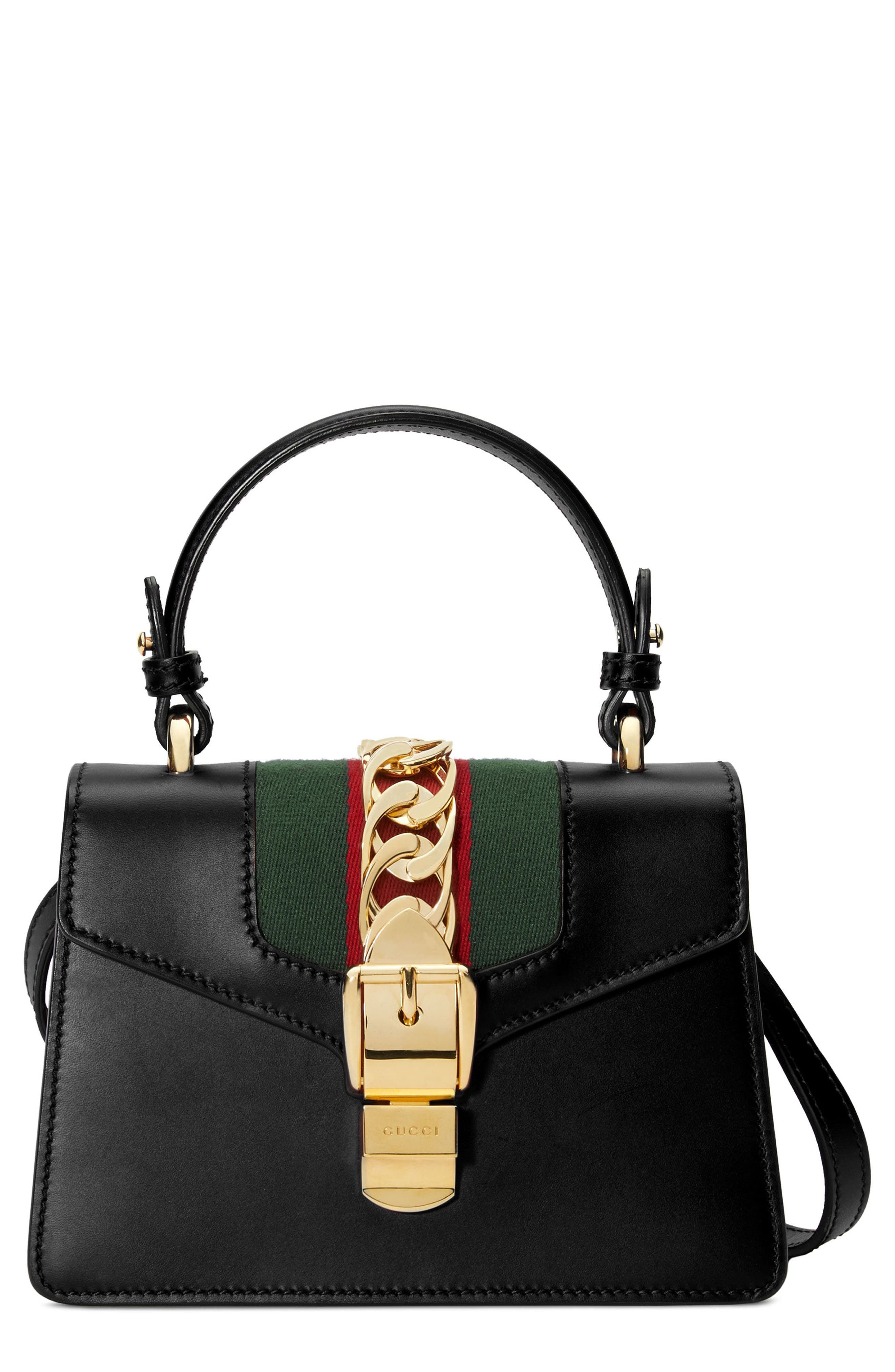 Mini Sylvie Top Handle Leather Shoulder Bag,                         Main,                         color, 8639 NERO/VRV