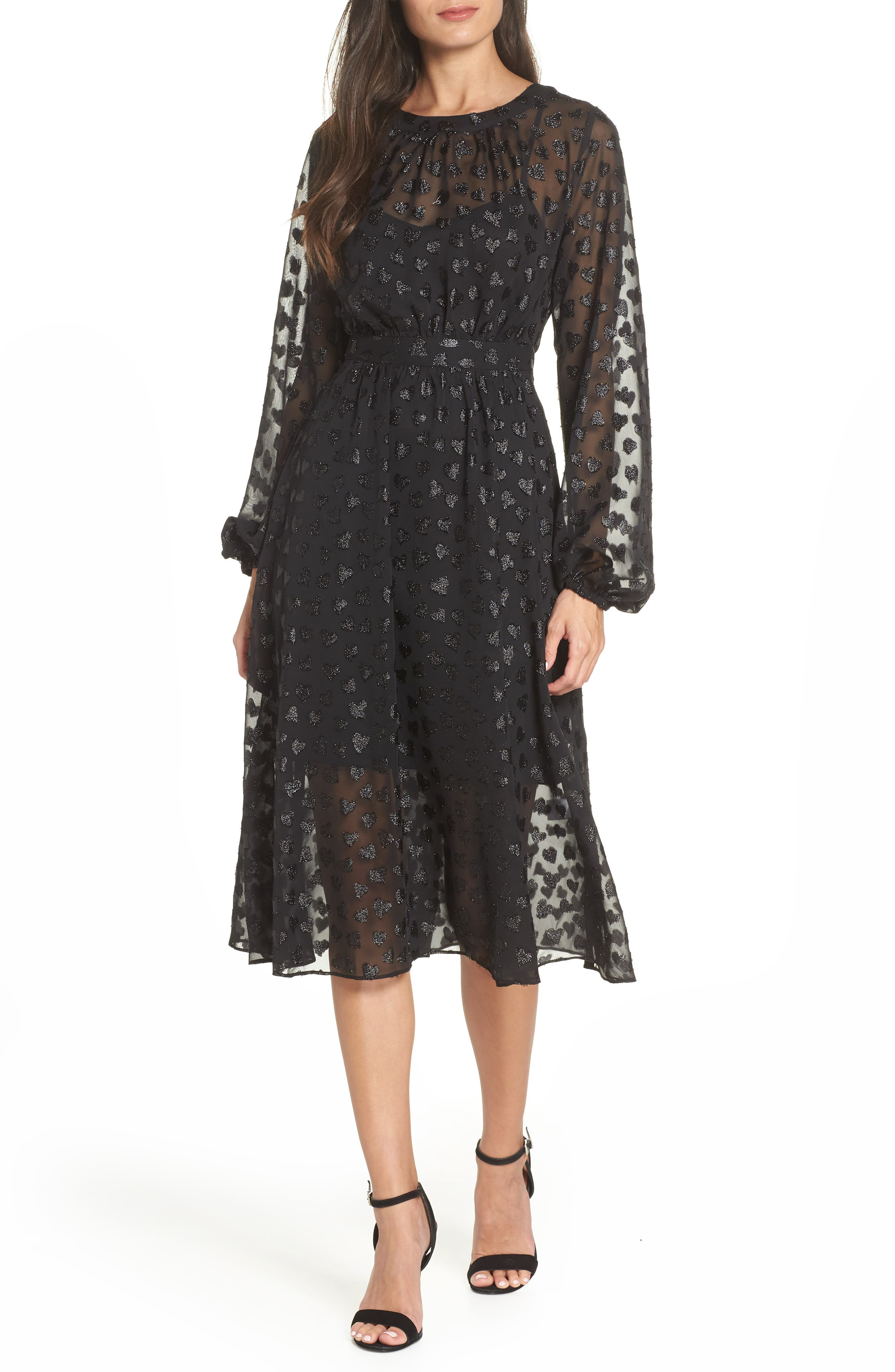 AVEC LES FILLES Tea Length Metallic Mesh Dress, Main, color, 001