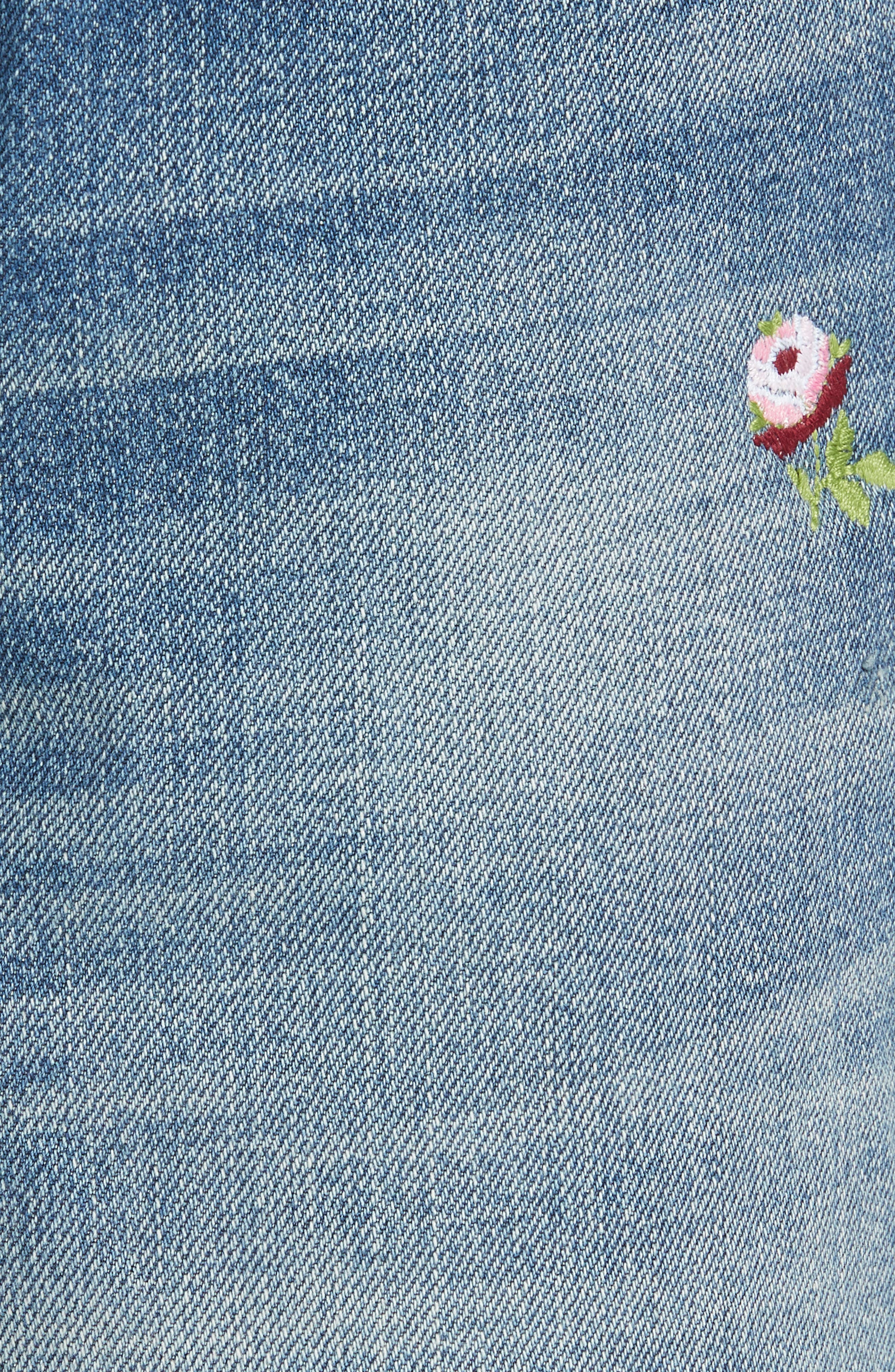 The Rigid Fellow Floral Embroidered Jeans,                             Alternate thumbnail 5, color,                             PRAIRIE WASH W/ ROSETTE