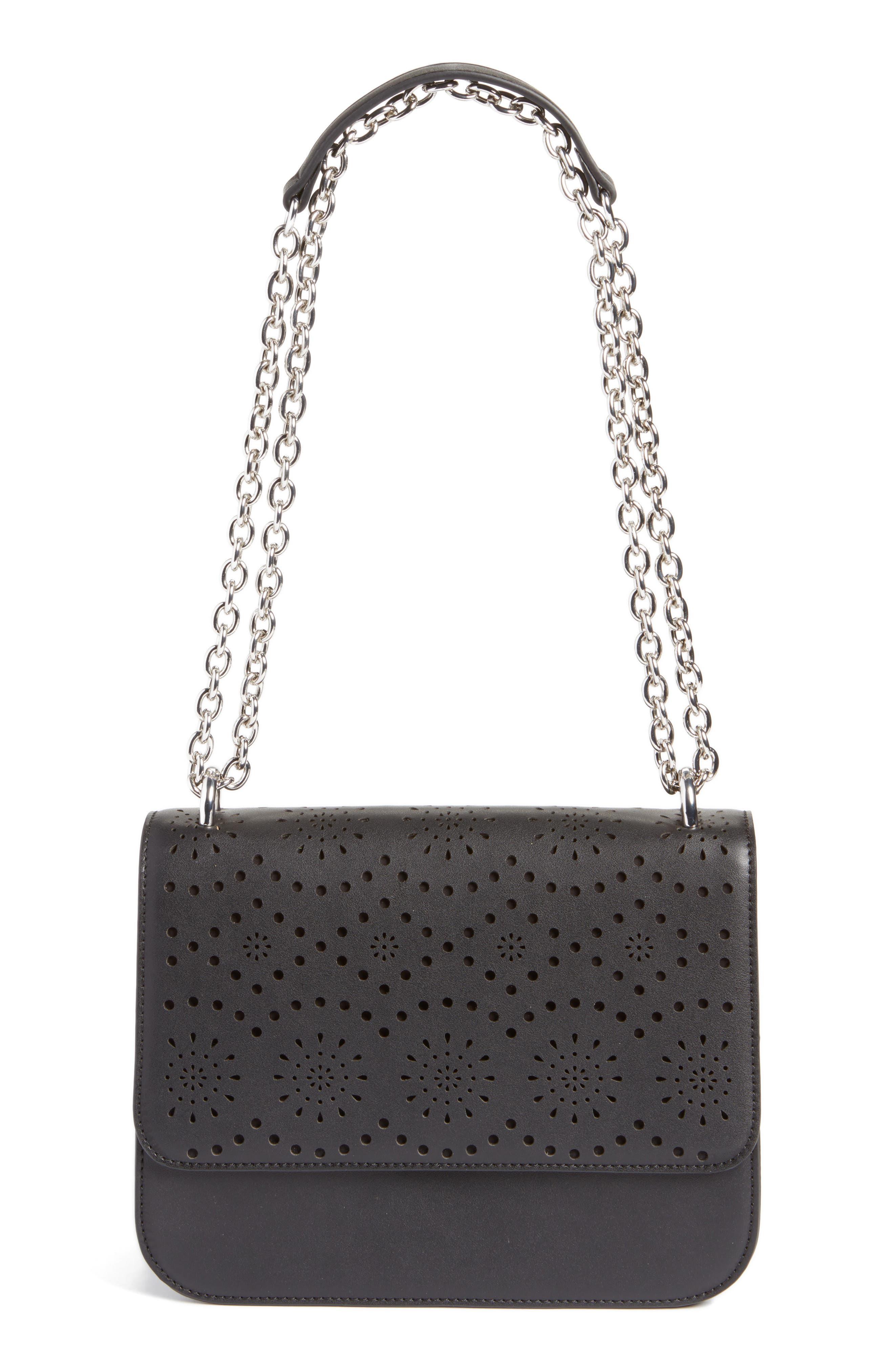 Dahlia Perforated Faux Leather Shoulder Bag,                             Main thumbnail 1, color,                             001
