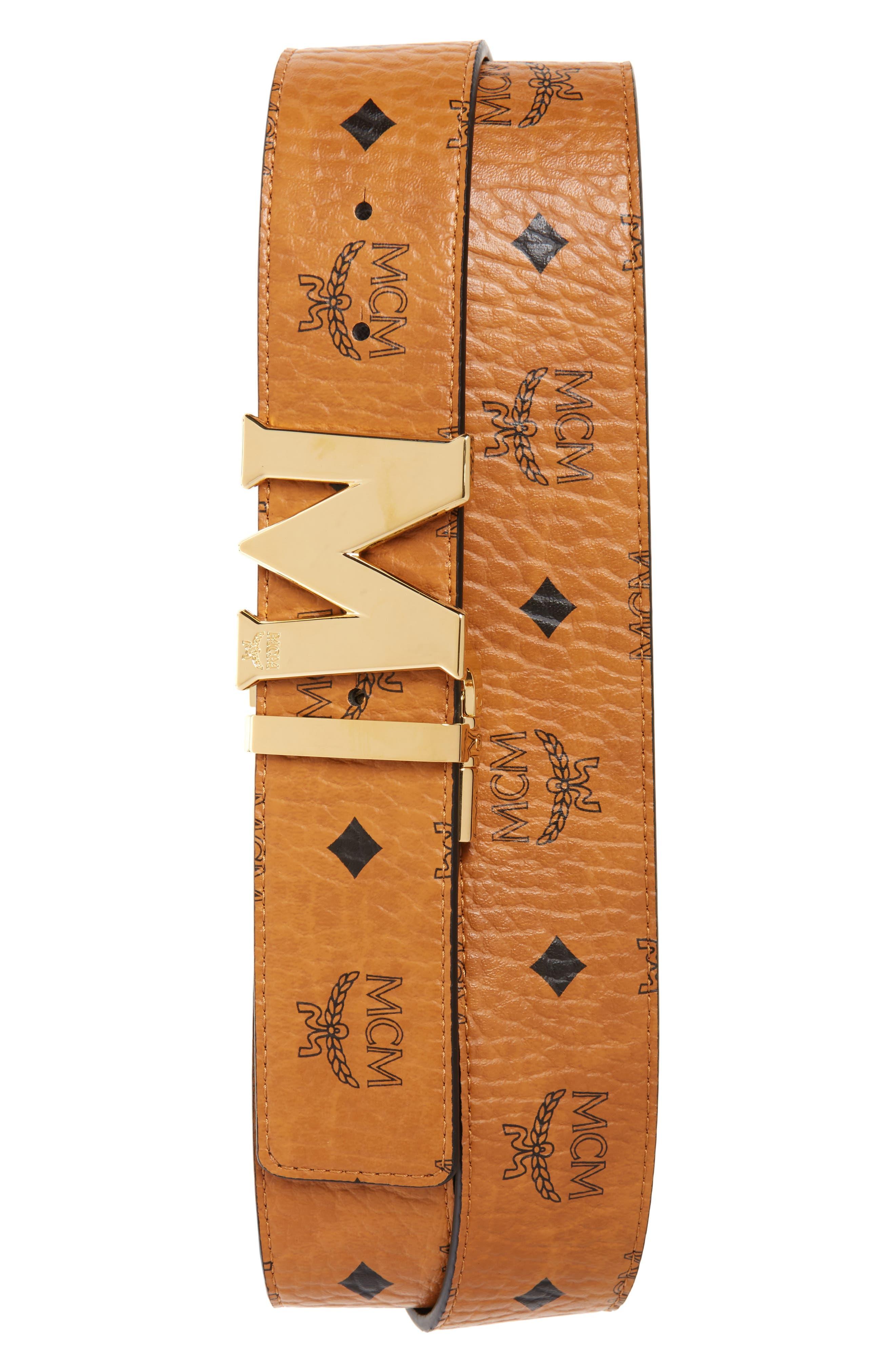 Reversible Signature Leather Belt,                             Main thumbnail 1, color,                             COGNAC