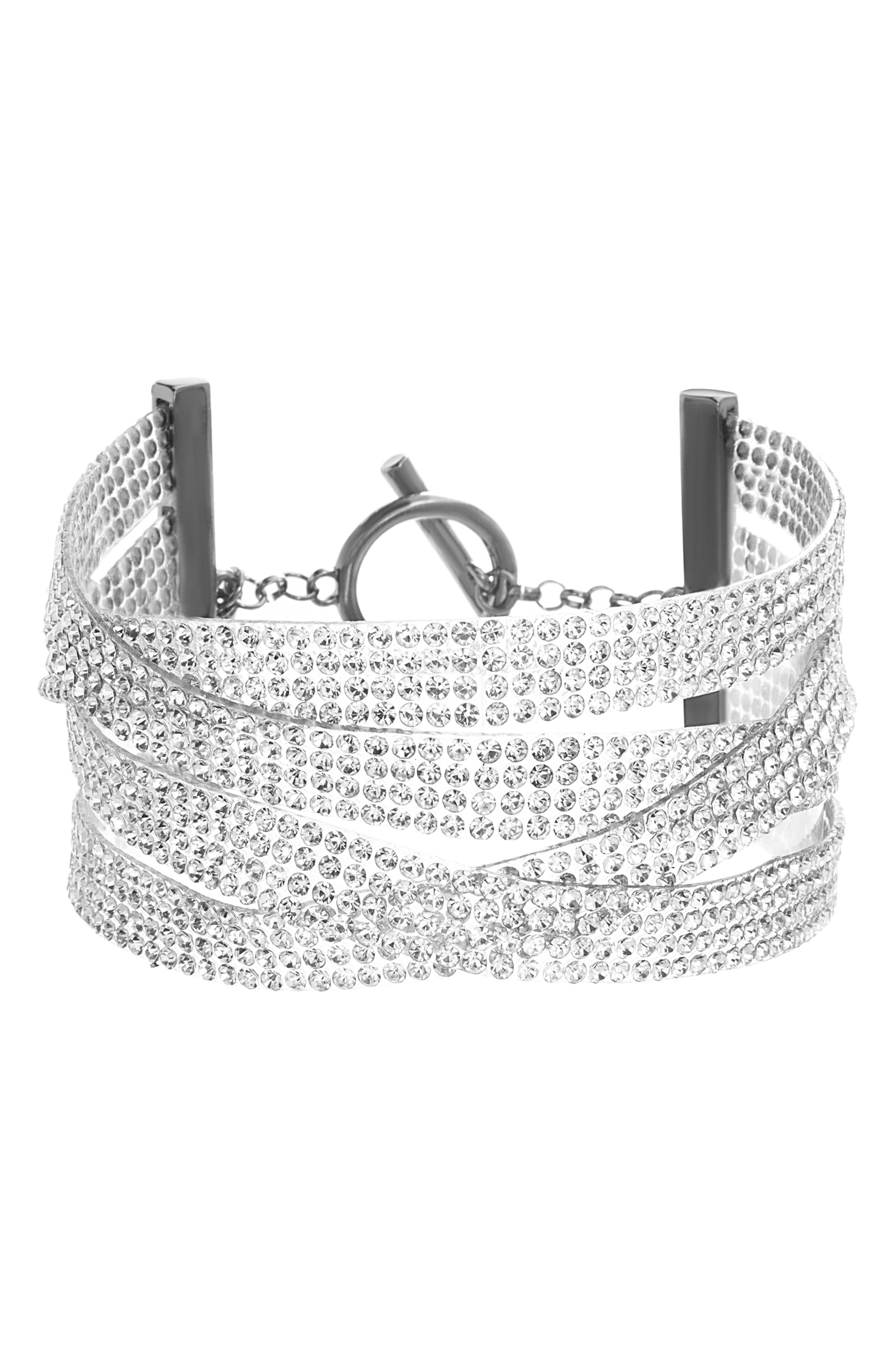 Multistrand Crystal Bracelet,                         Main,                         color, SILVER