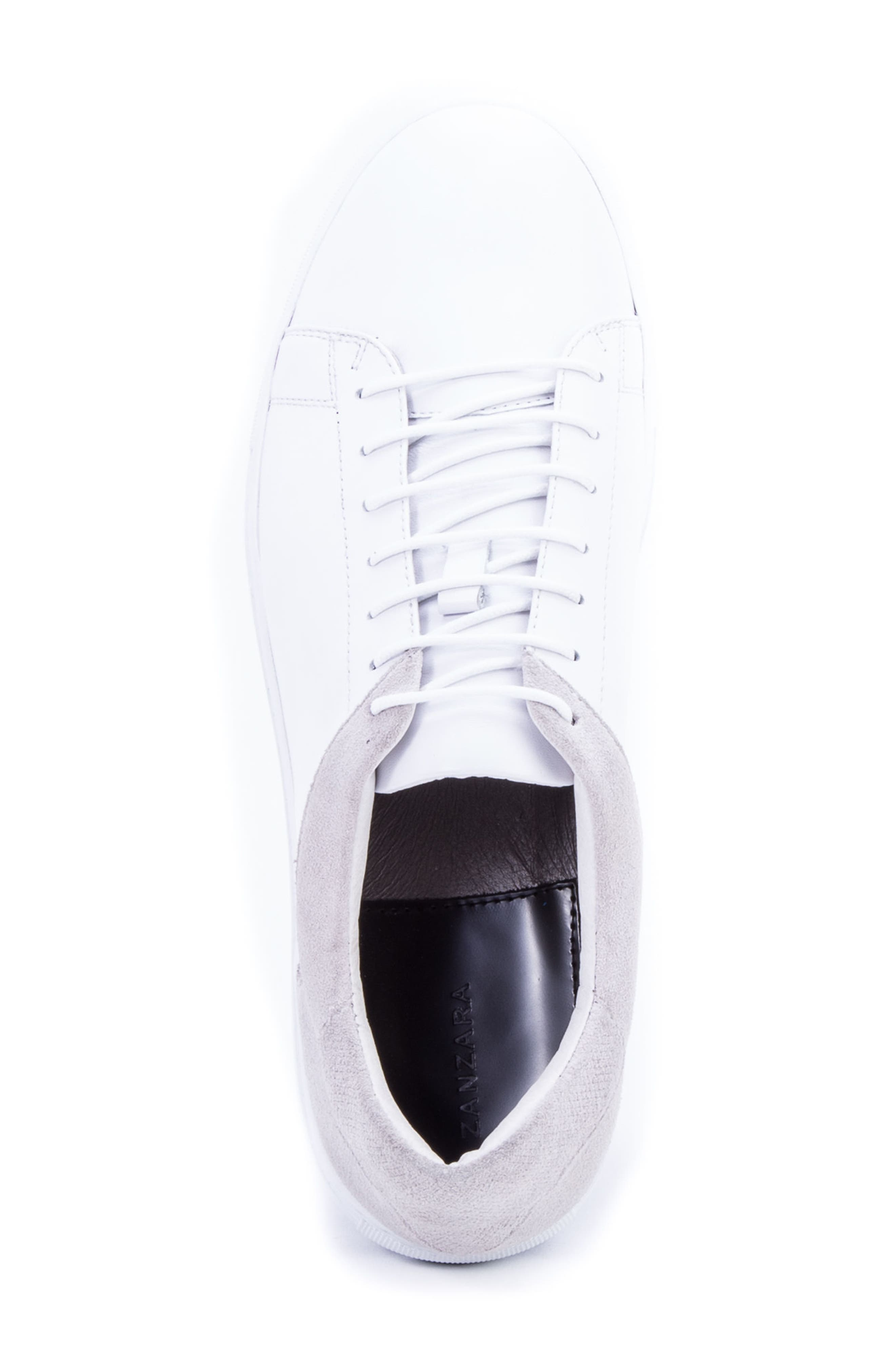 Cue Low Top Sneaker,                             Alternate thumbnail 5, color,                             WHITE LEATHER/ SUEDE