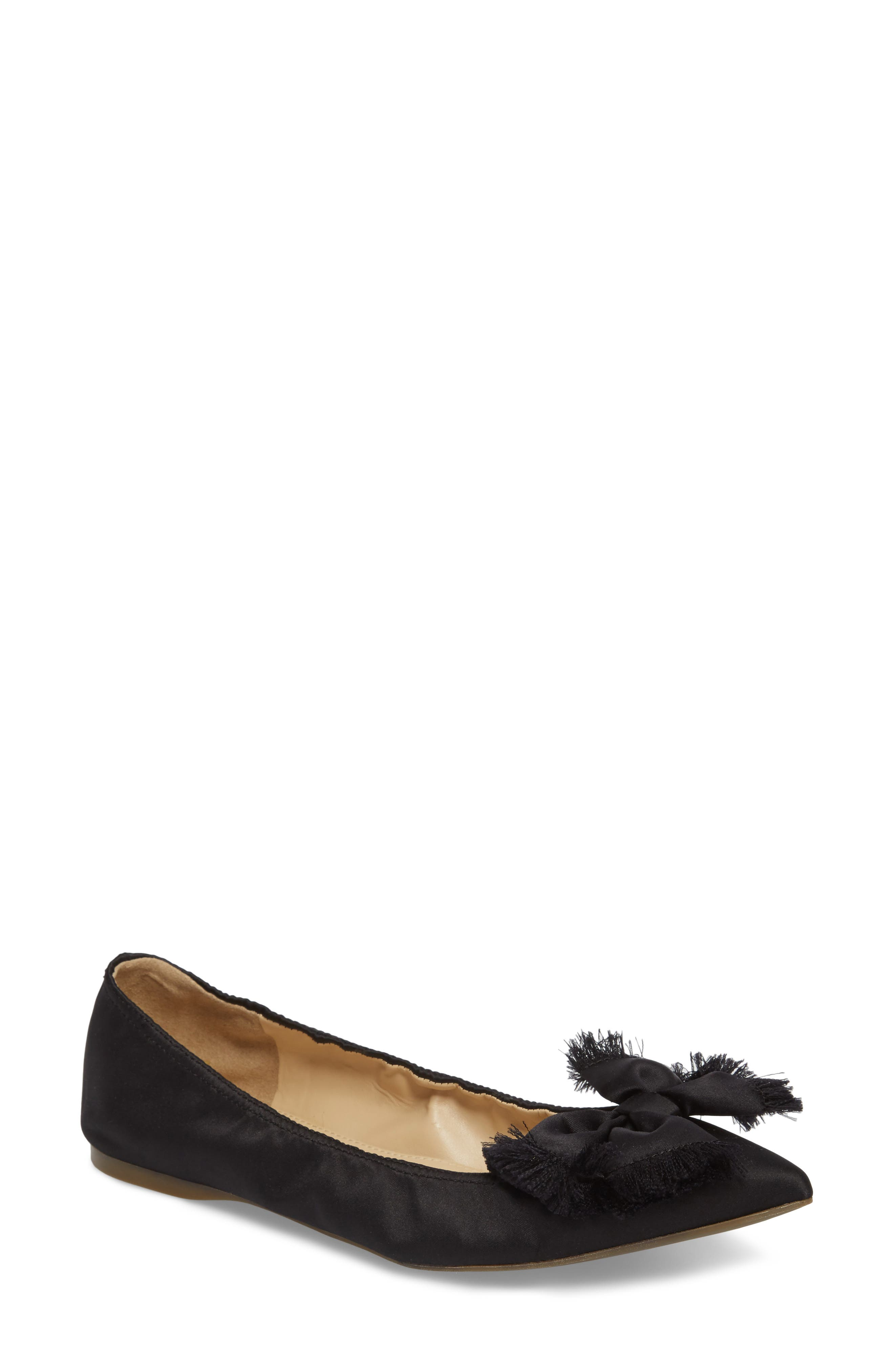 Lottie Frayed Bow Flat,                         Main,                         color, 001