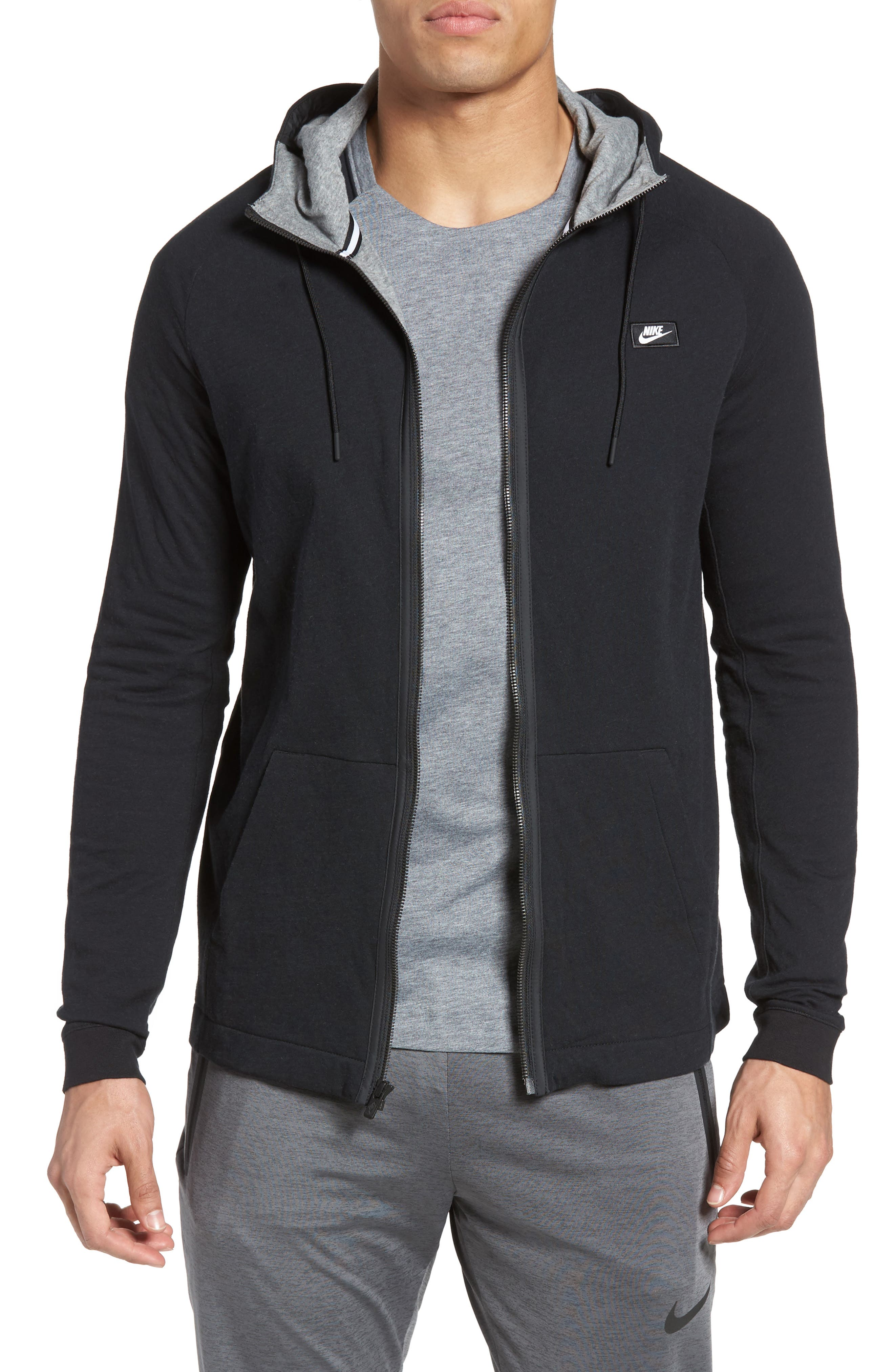 Tech Regular Fit Fleece Hoodie,                         Main,                         color, BLACK/ CARBON HEATHER